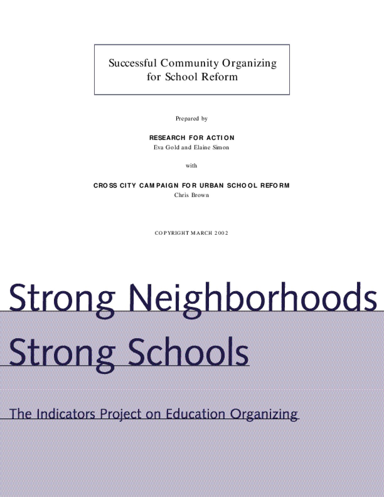 Strong Neighborhoods, Strong Schools