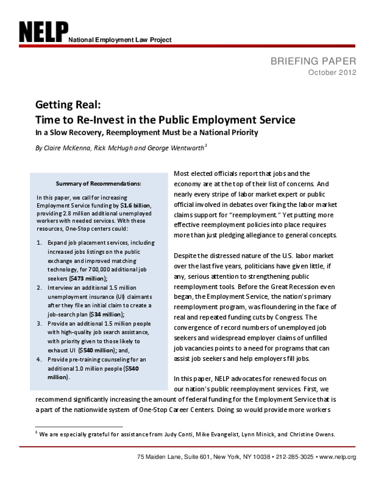 Getting Real: Time to Re-Invest in the Public Employment Service