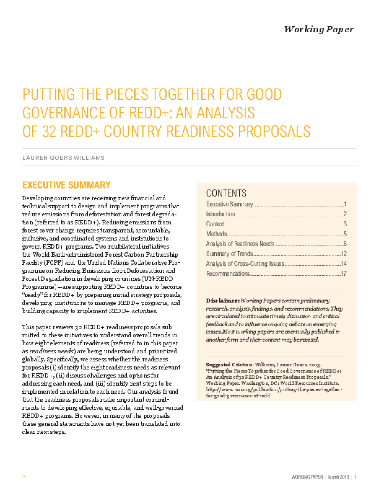 Putting the Pieces Together for Good Governance of REDD+: An Analysis of 32 REDD+ Country Readiness Proposals