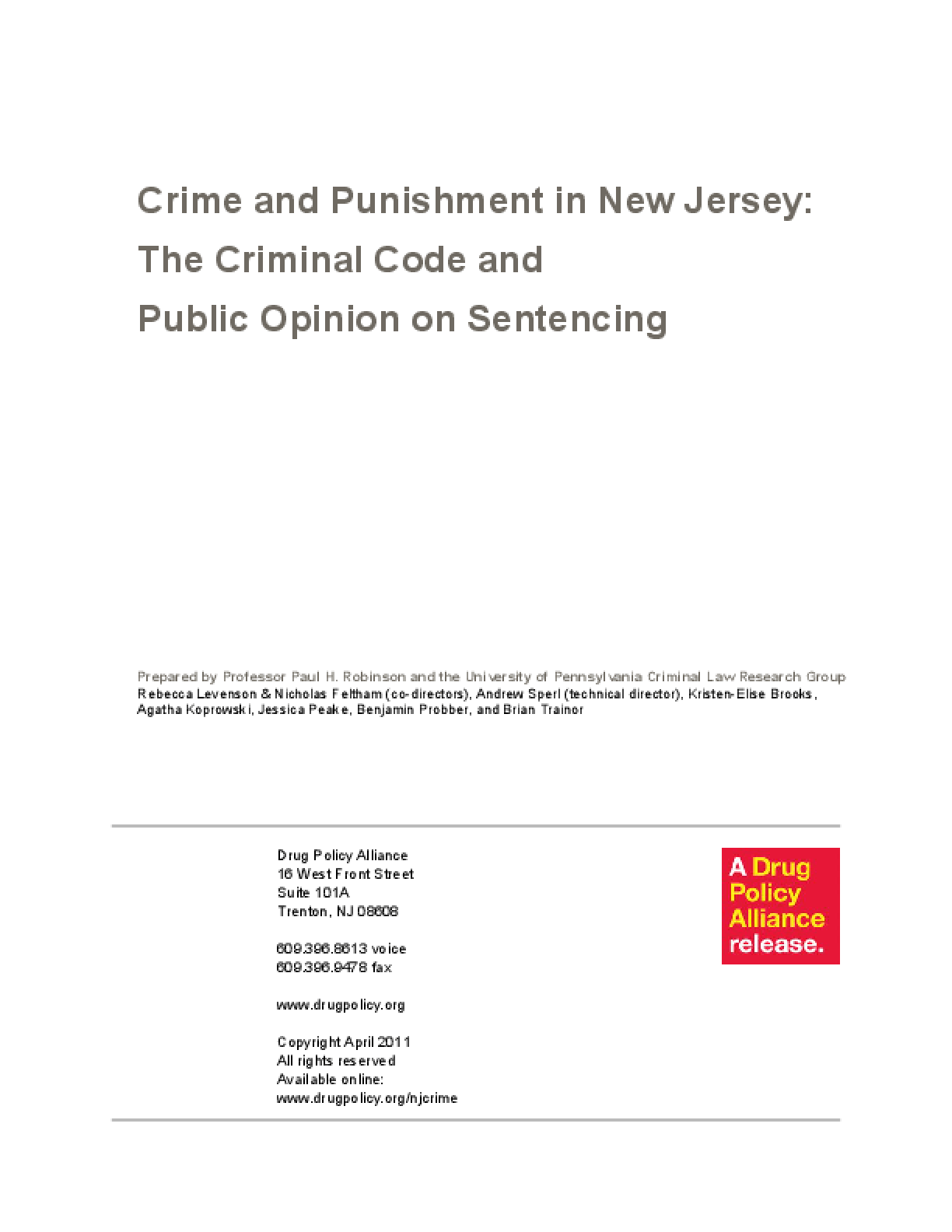 Crime and Punishment in New Jersey: The Criminal Code and Public Opinion on Sentencing