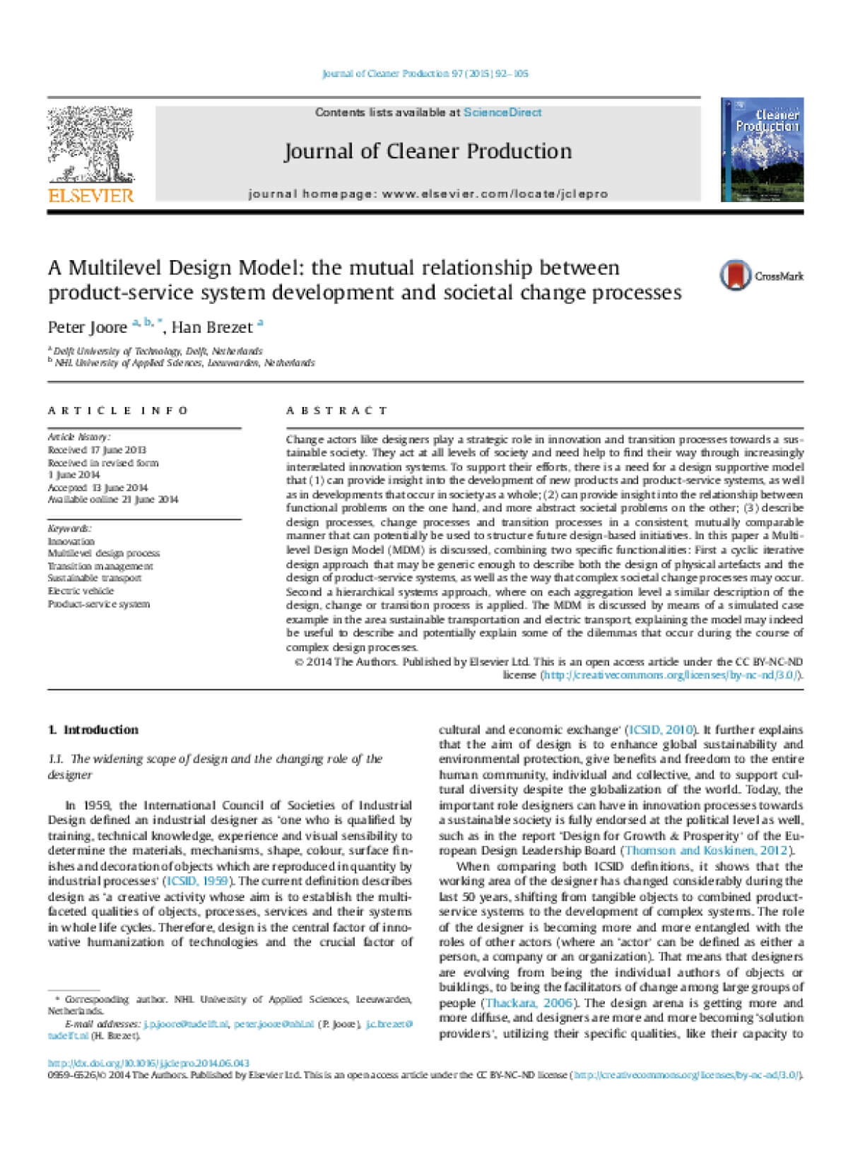 A Multilevel Design Model: The Mutual Relationship Between Product-Service System Development and Societal Change Processes