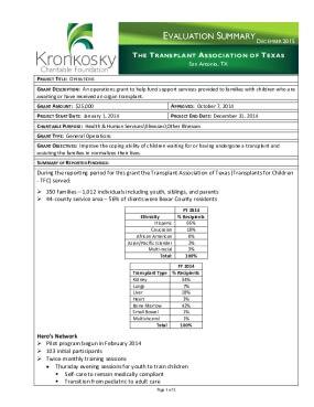 The Transplant Association of Texas Evaluation Summary