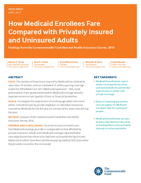 How Medicaid Enrollees Fare Compared with Privately Insured and Uninsured Adults: Findings from the Commonwealth Fund Biennial Health Insurance Survey, 2016