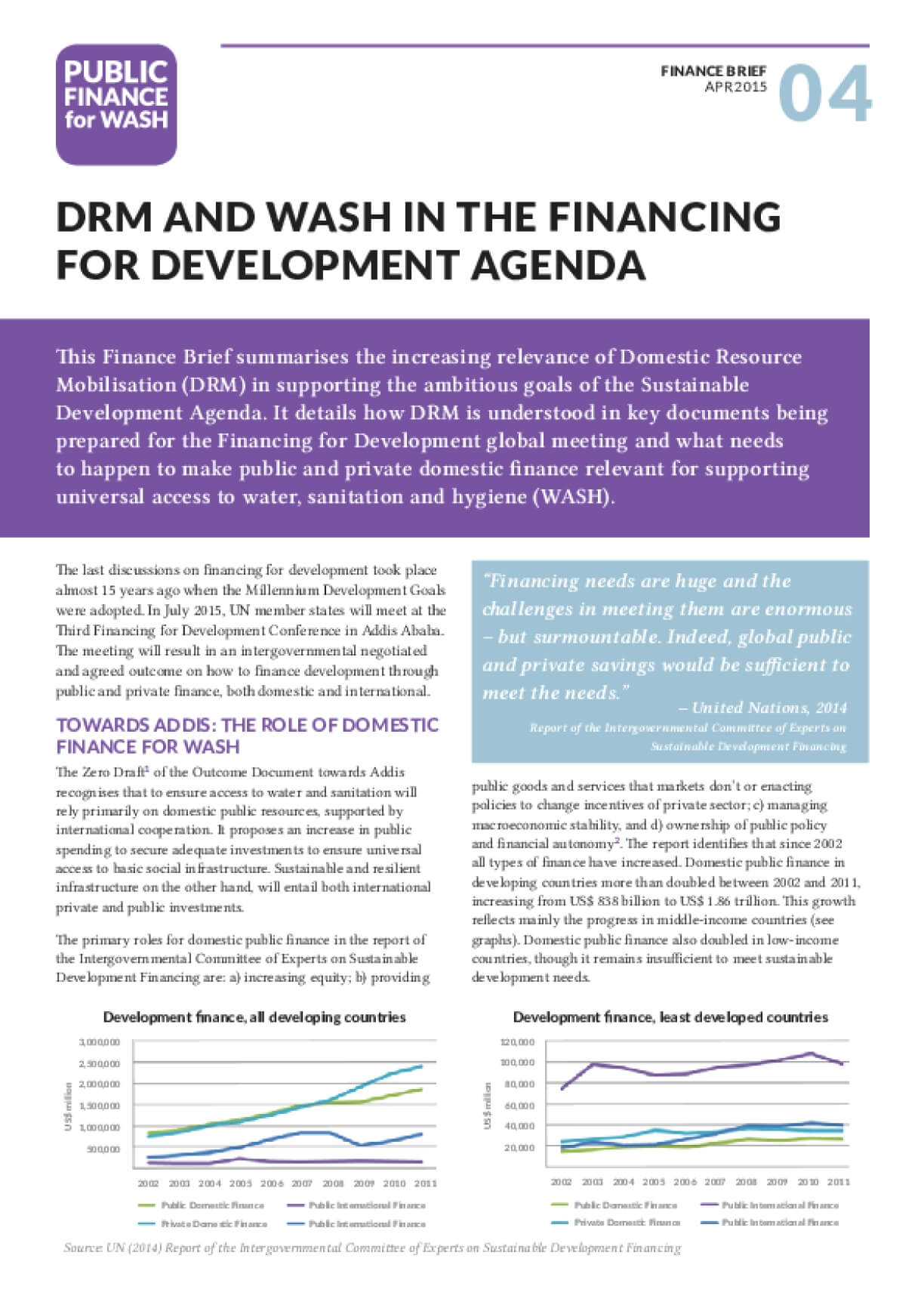 Finance Brief 4: DRM and WASH in the Financing for Development agenda