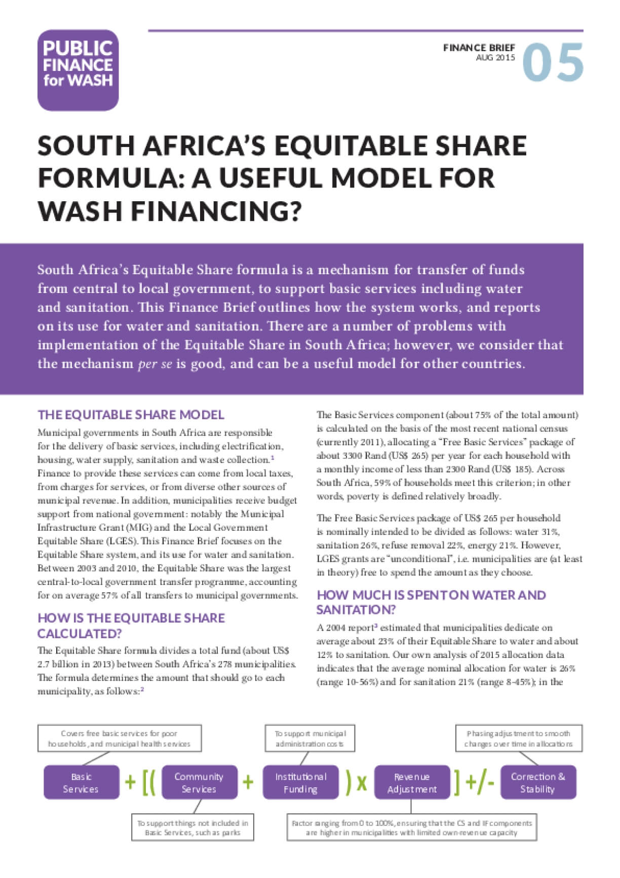 South Africa's Equitable Share Formula: a useful model for WASH financing?
