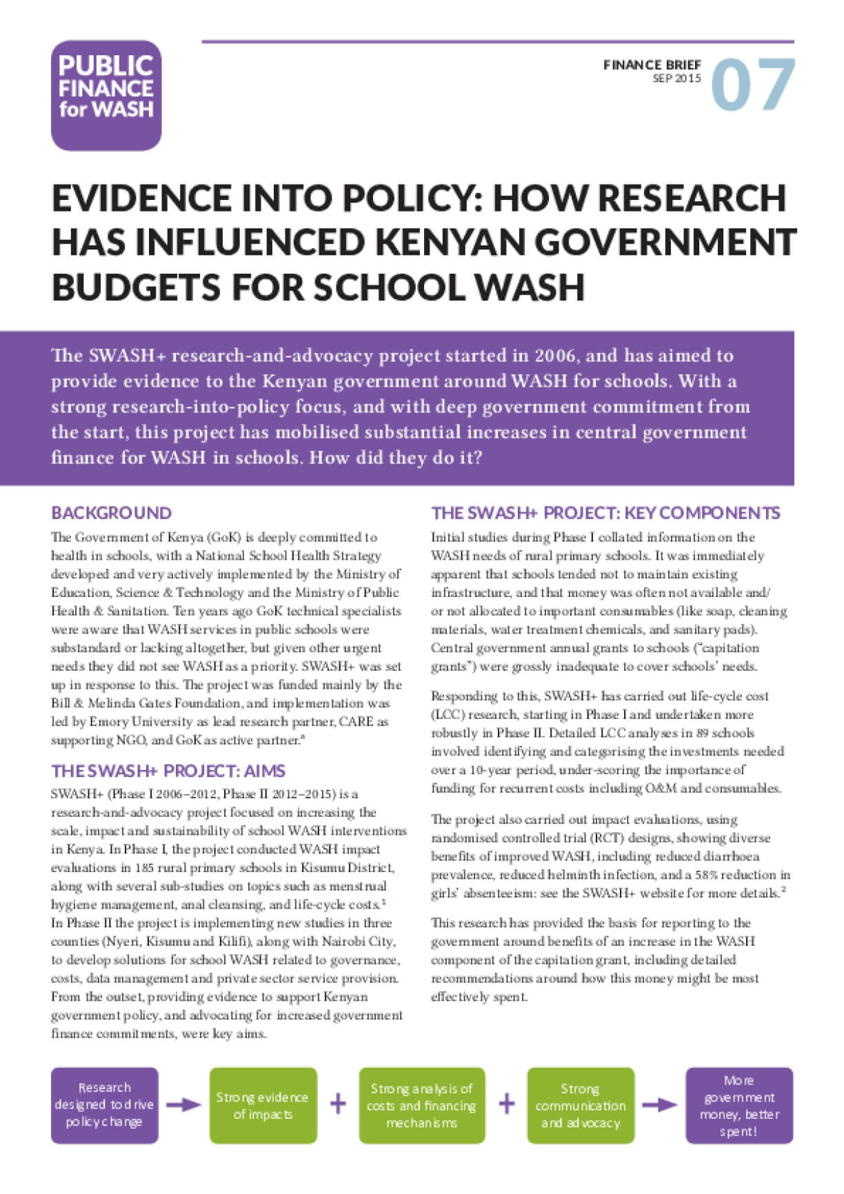 Evidence into Policy: How Research has Influenced Kenyan Government Budgets for School Wash