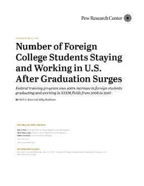 Number of Foreign College Students Staying and Working in U.S. After Graduation Surges