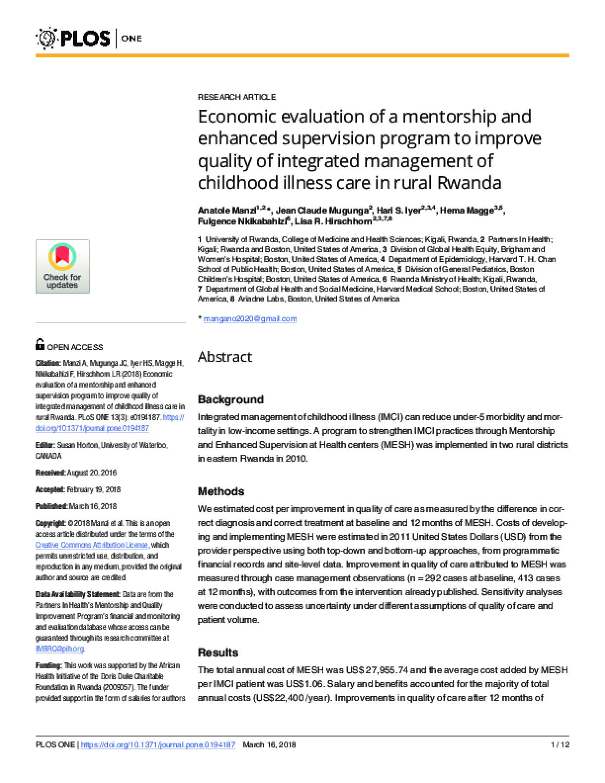 Economic evaluation of a Mentorship and Enhanced Supervision Program to Improve Quality of Integrated Management of Childhood Illness Care in Rural Rwanda
