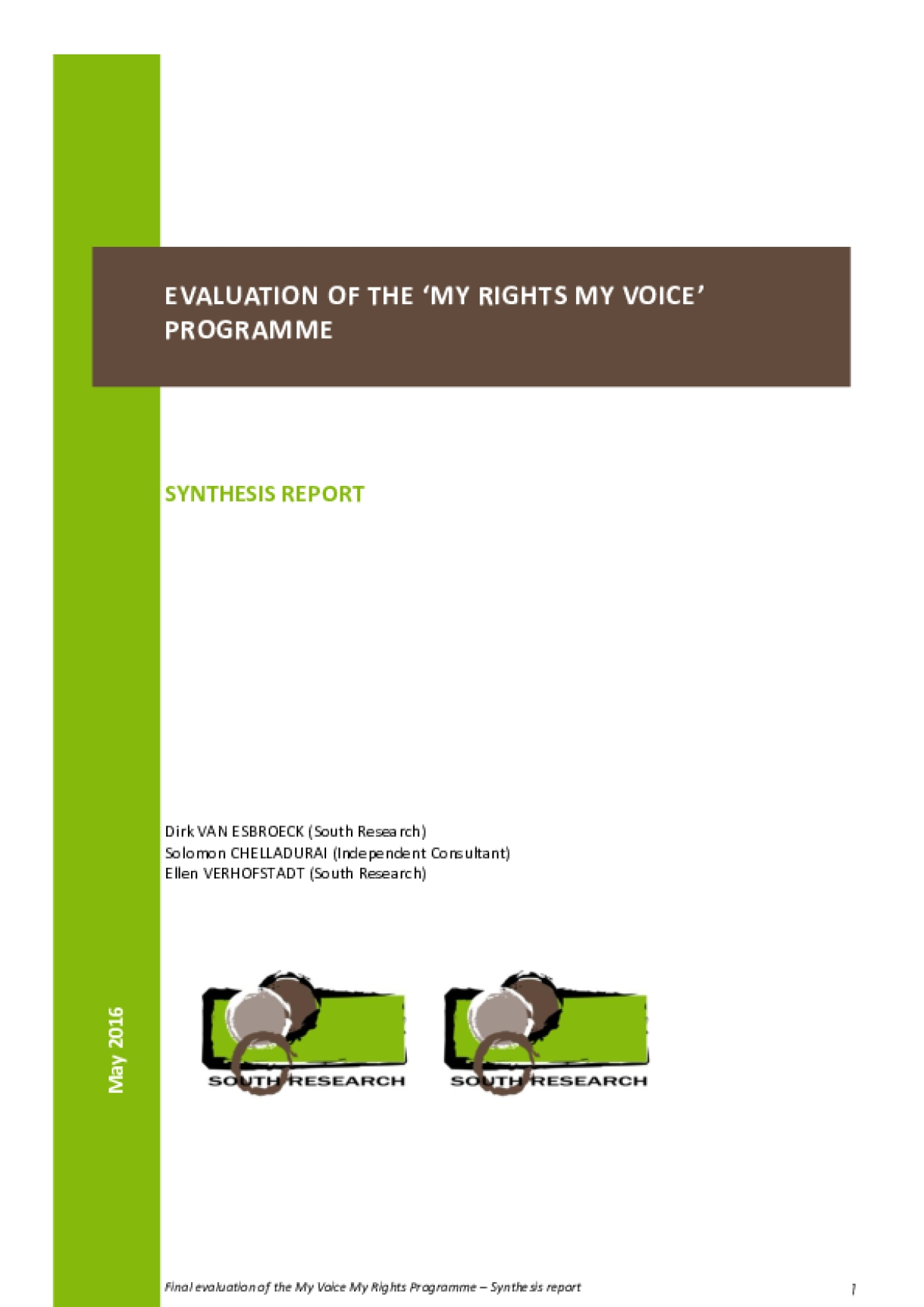 Evaluation of the My Rights My Voice Programme: Synthesis report