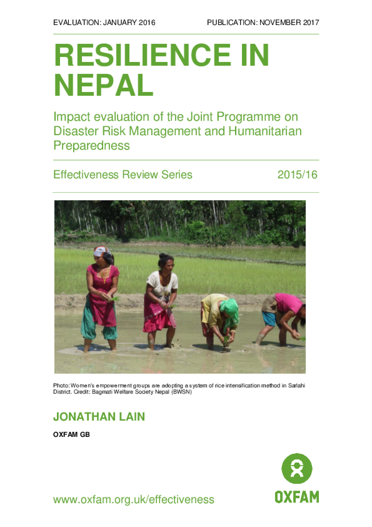 Resilience in Nepal: Impact evaluation of the Joint Programme on Disaster Risk Management and Humanitarian Preparedness