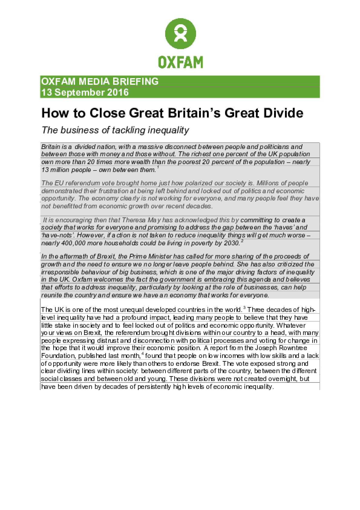 How to Close Great Britain's Great Divide: The Business of Tackling Inequality