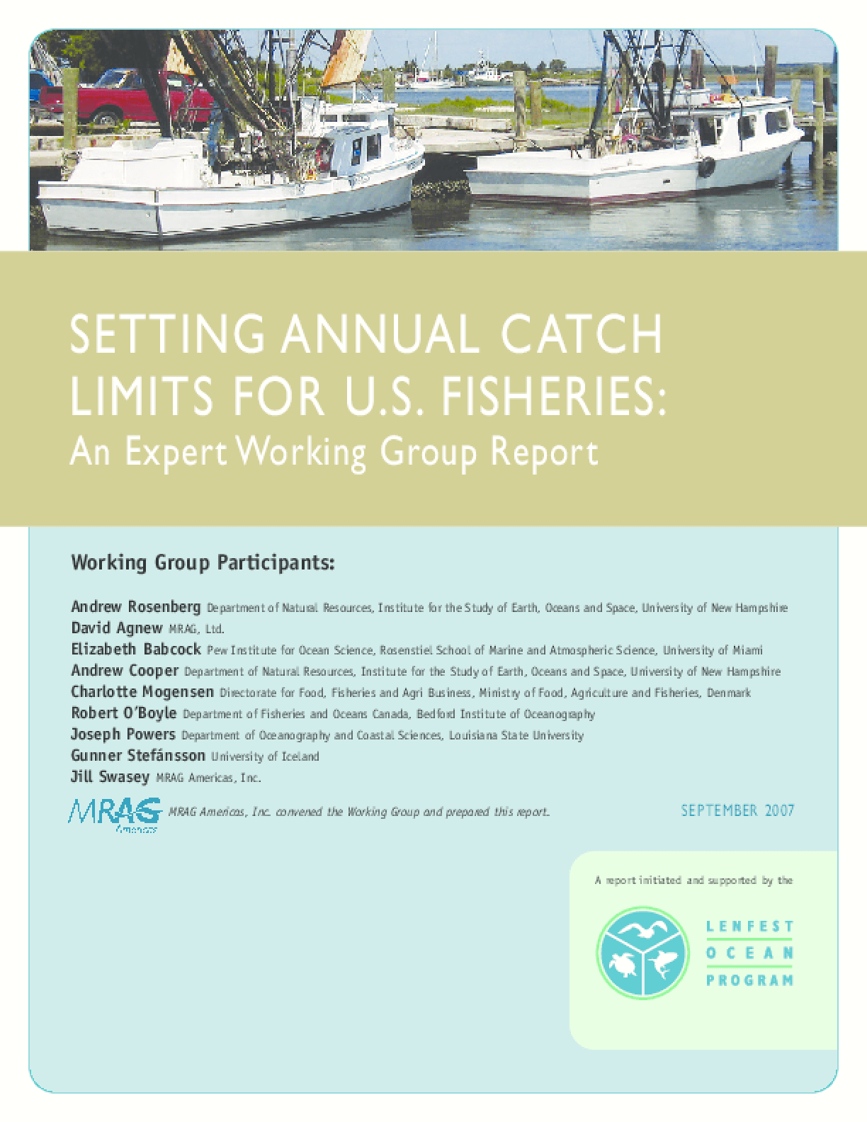 Setting Annual Catch Limits for U.S. Fisheries: An Expert Working Group Report