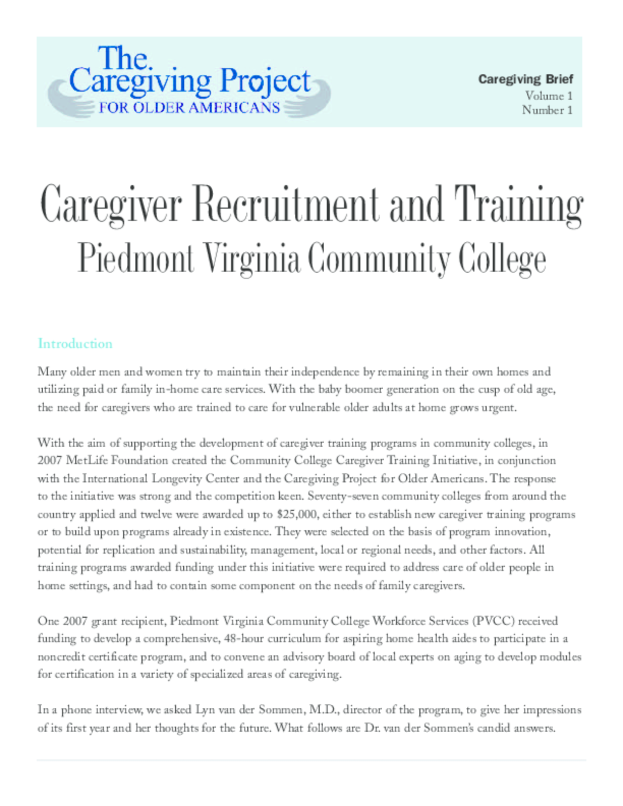 Caregiving Recruitment Training