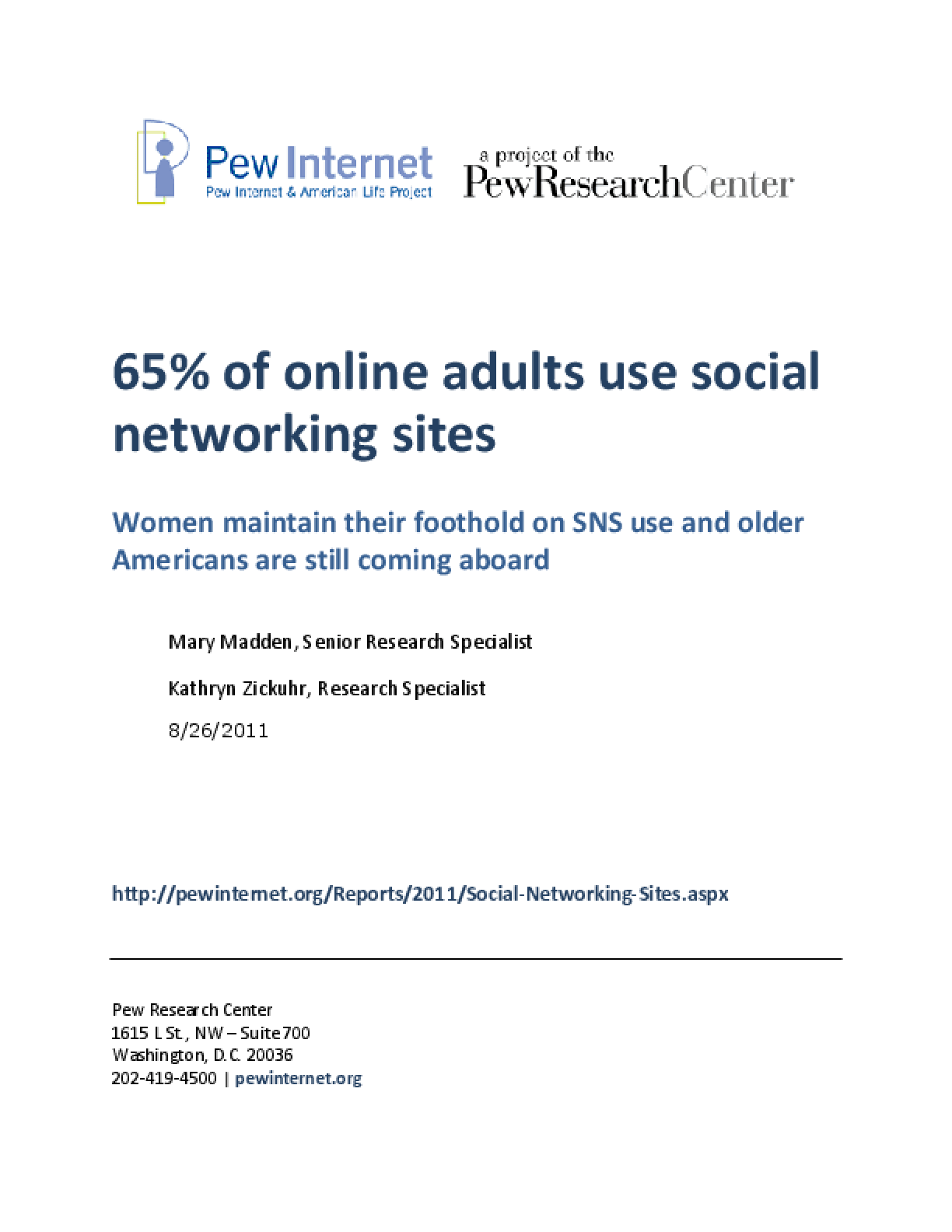 65% of Online Adults Use Social Networking Sites