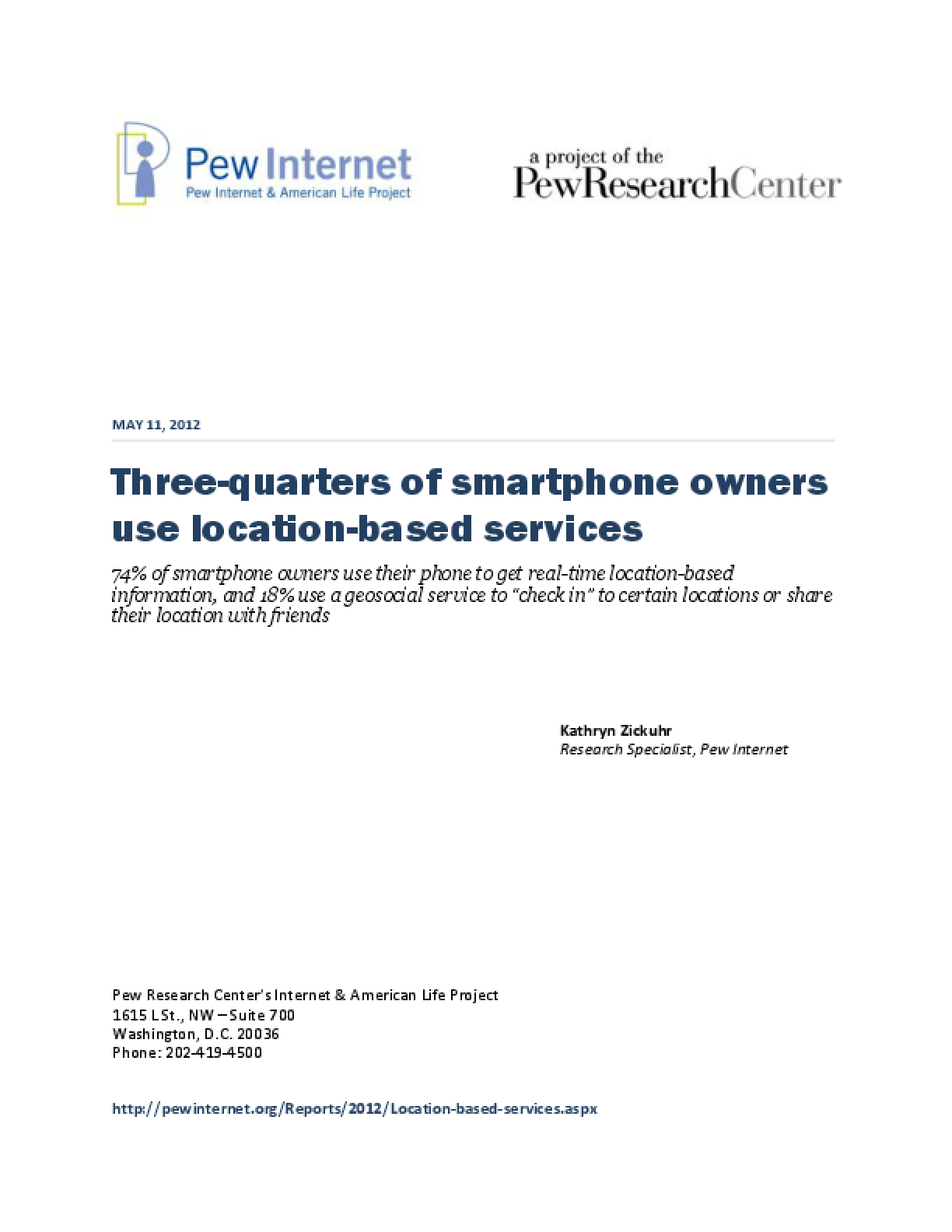 Three-Quarters of Smartphone Owners Use Location-Based Services
