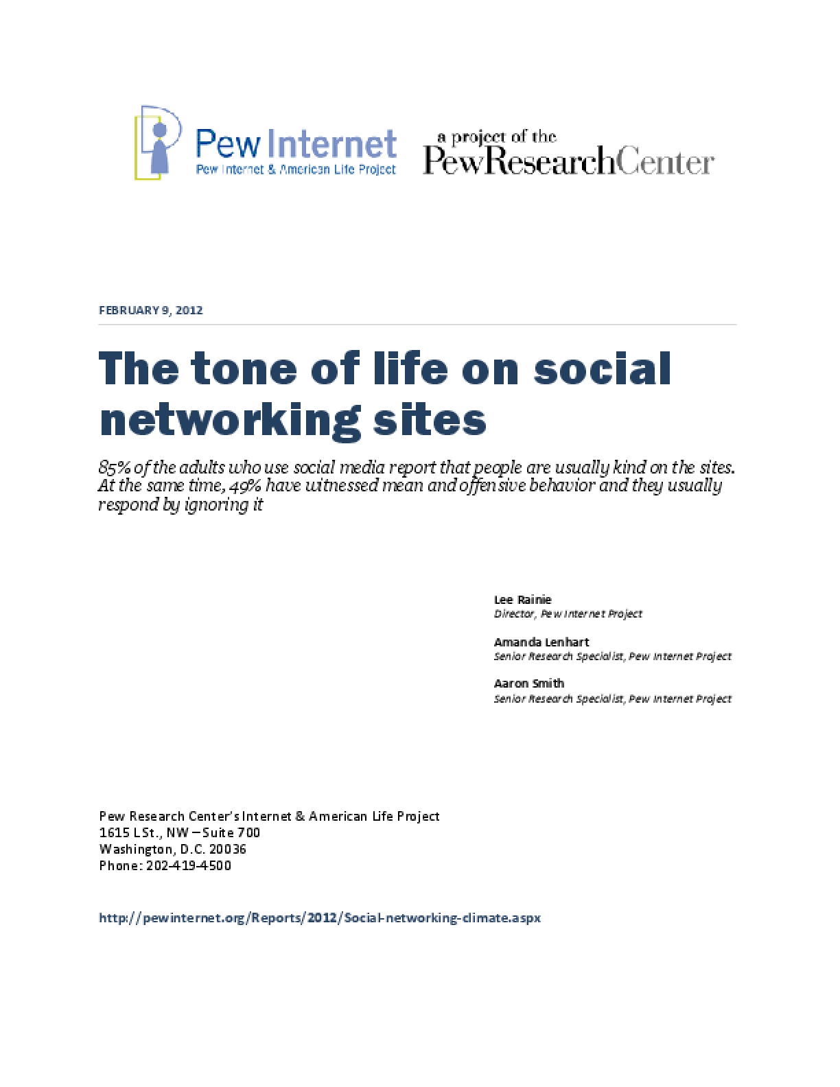 The Tone of Life on Social Networking Sites