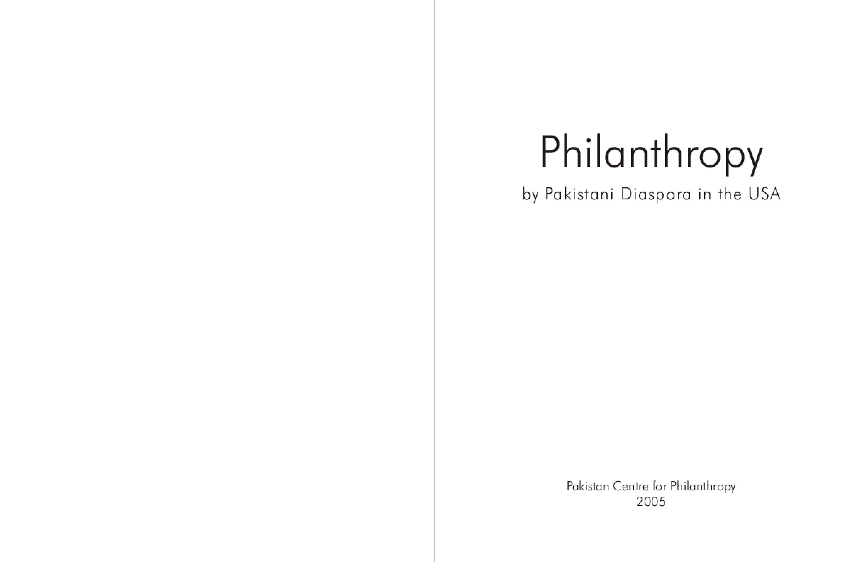 Philanthropy by Pakistani Diaspora in the USA