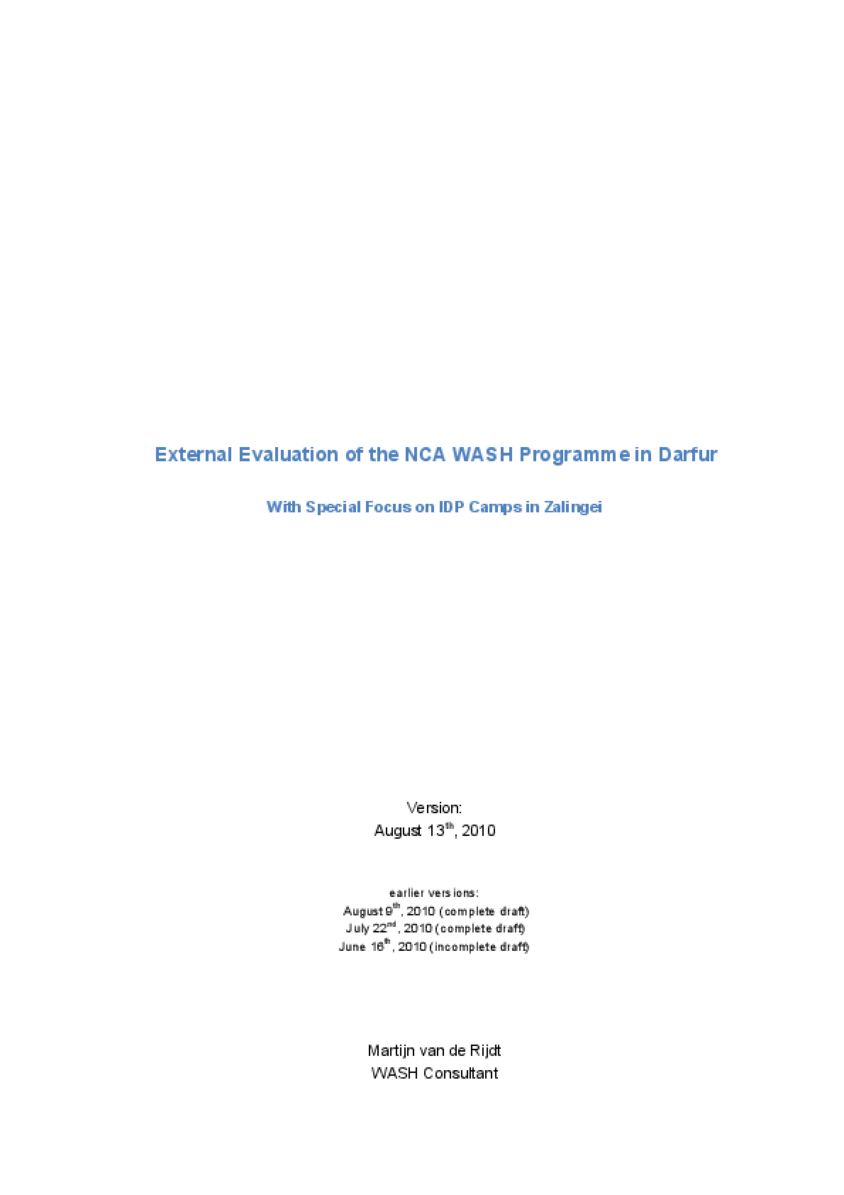 External Evaluation of the NCA WASH Programme in Darfur: With Special Focus on IDP Camps in Zalingei