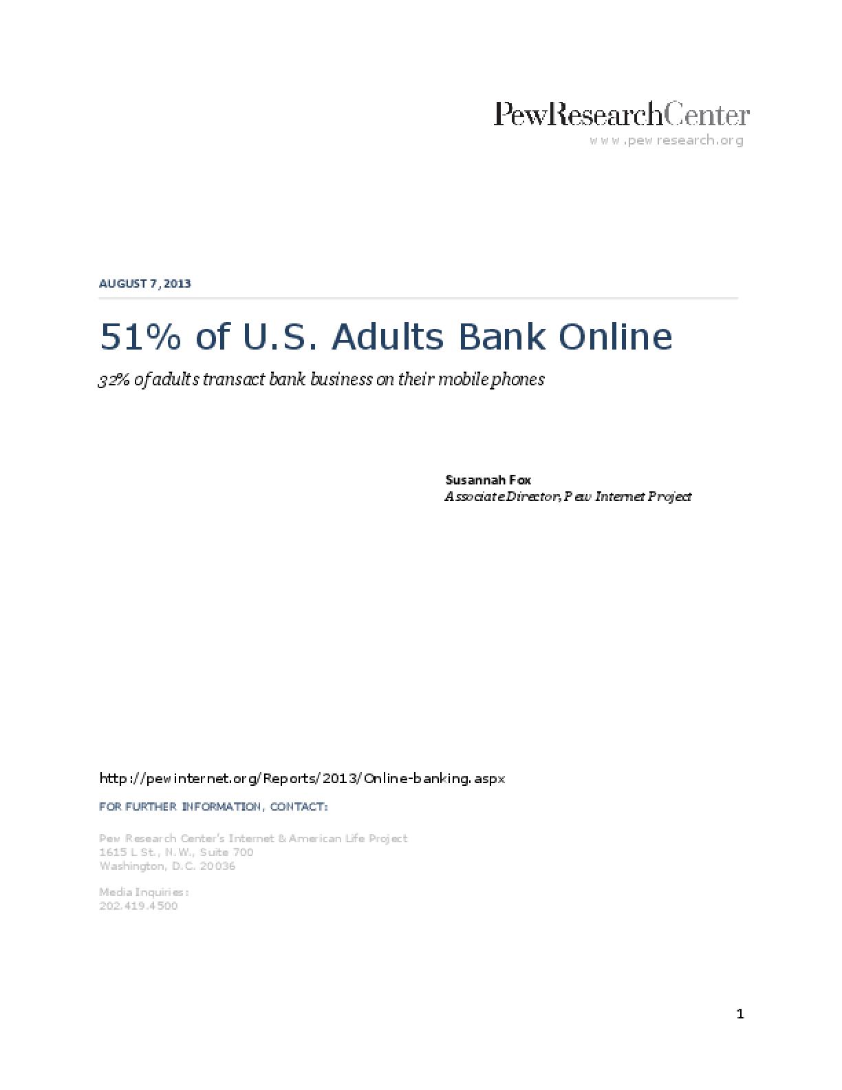 51% of U.S. Adults Bank Online
