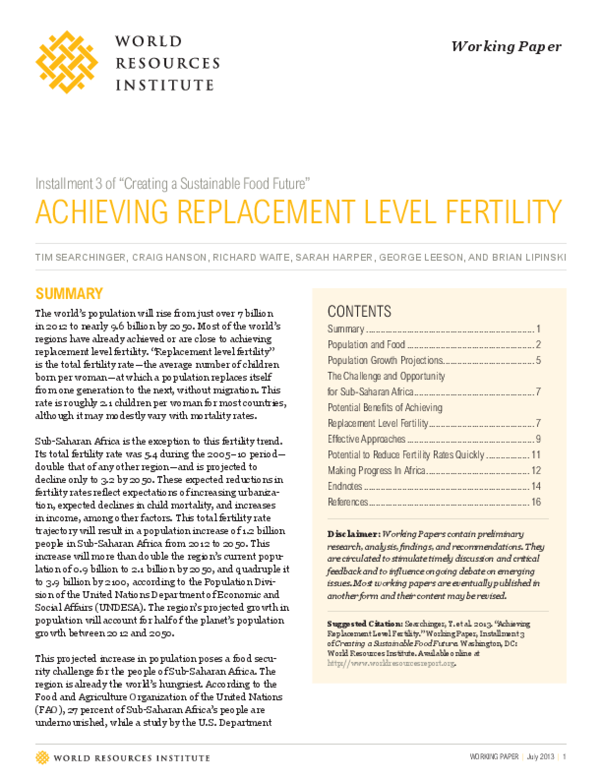 "Installment Three of ""Creating a Sustainable Food Future"": Achieving Replacement Level Fertility"