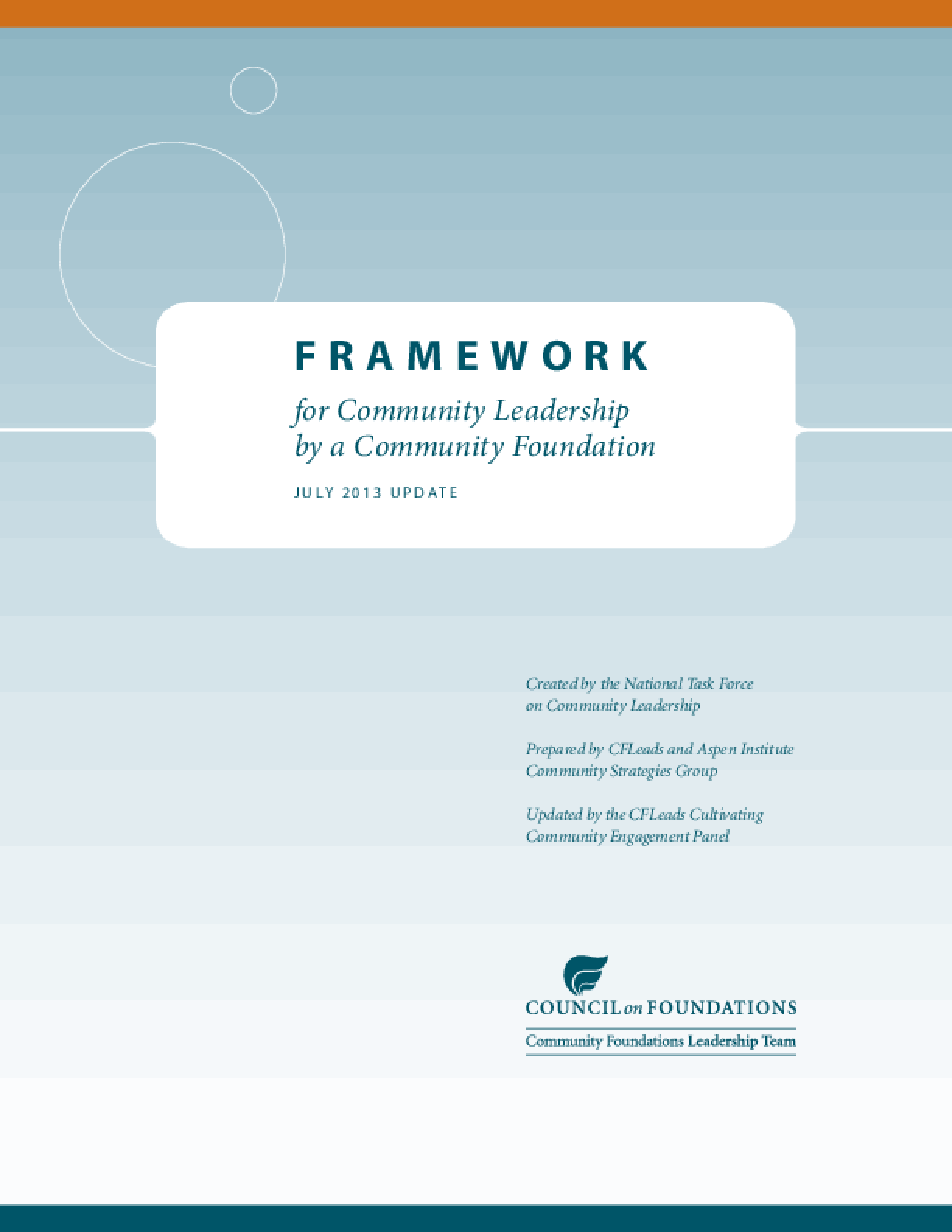 Framework for Community Leadership by a Community Foundation