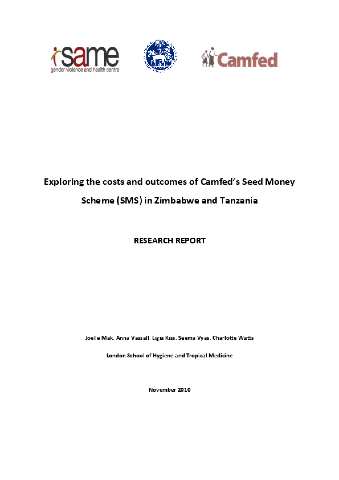 Exploring the Costs and Outcomes of Camfed's Seed Money Scheme (SMS) in Zimbabwe and Tanzania
