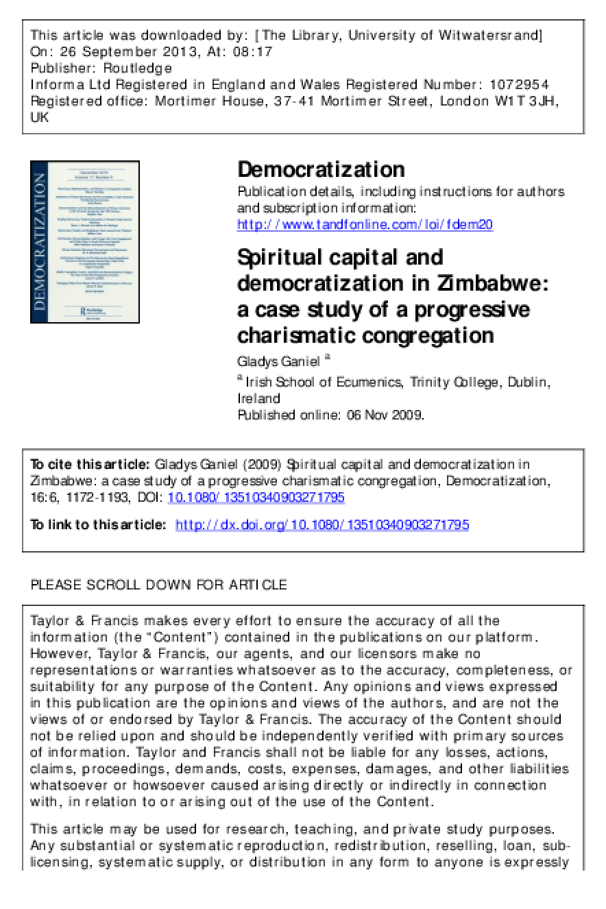 Spiritual Capital and Democratization in Zimbabwe: A Case Study of a Progressive Charismatic Congregation