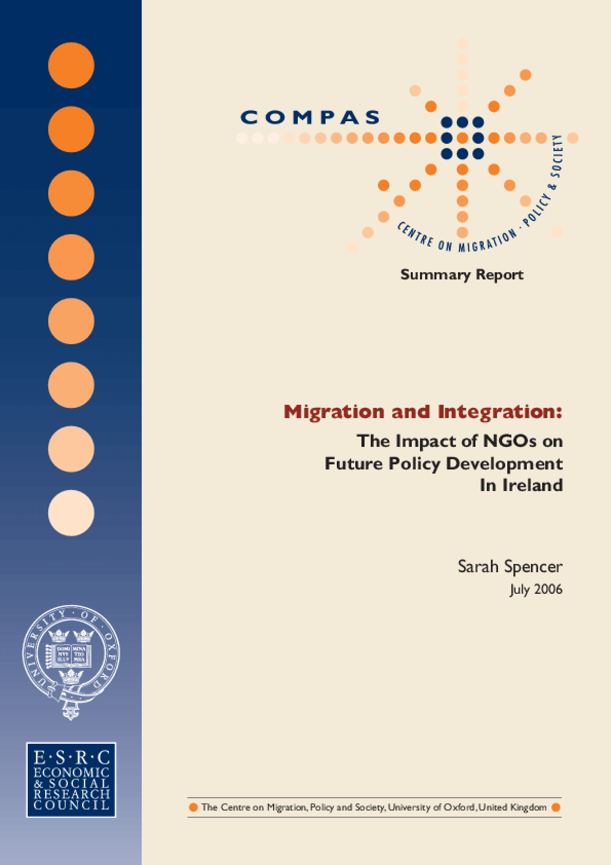 Migration and Integration: The Impact of NGOs on Future Policy Development In Ireland Summary Report
