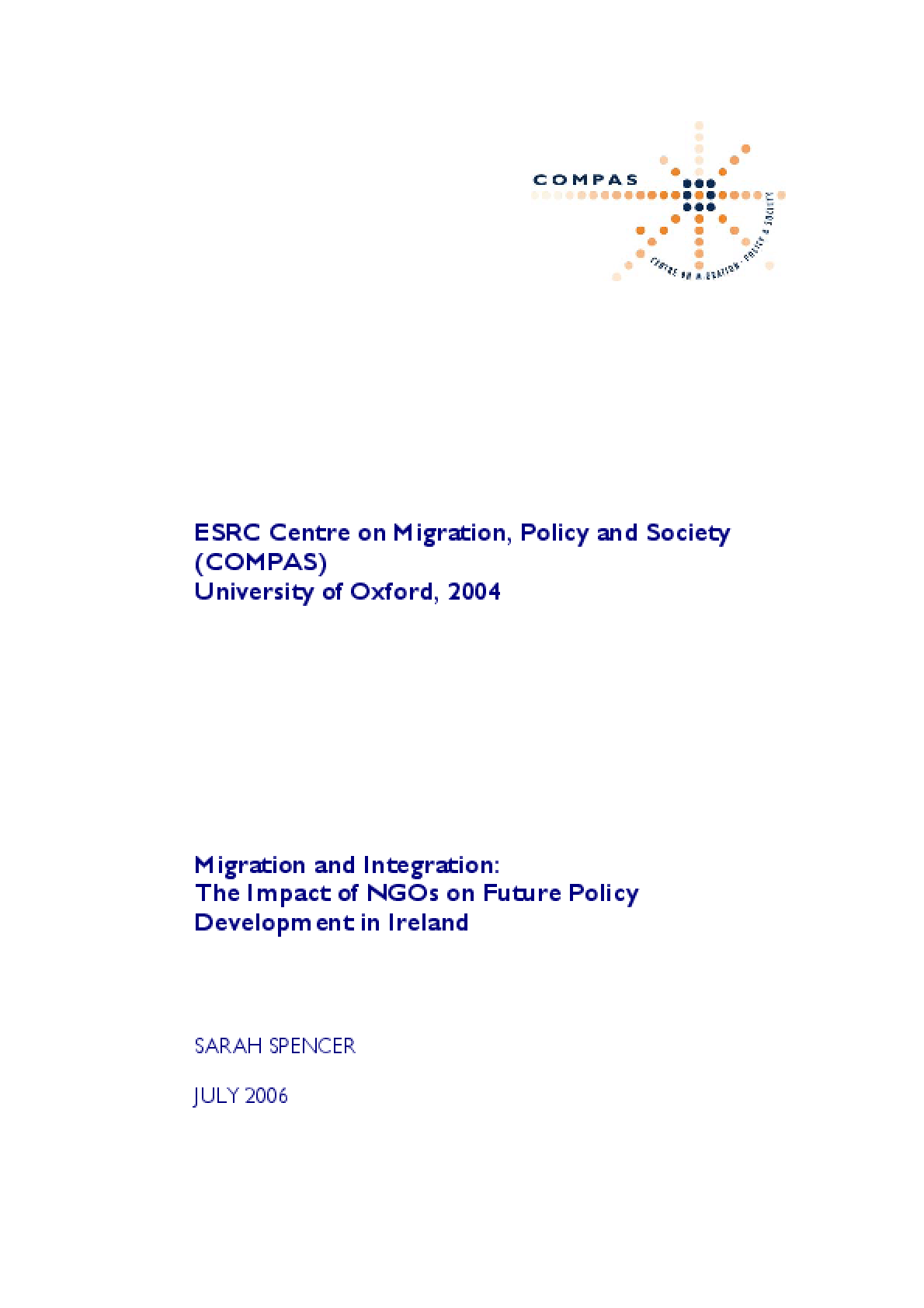 Migration and Integration: The Impact of NGOs on Future Policy Development In Ireland (Full Report)