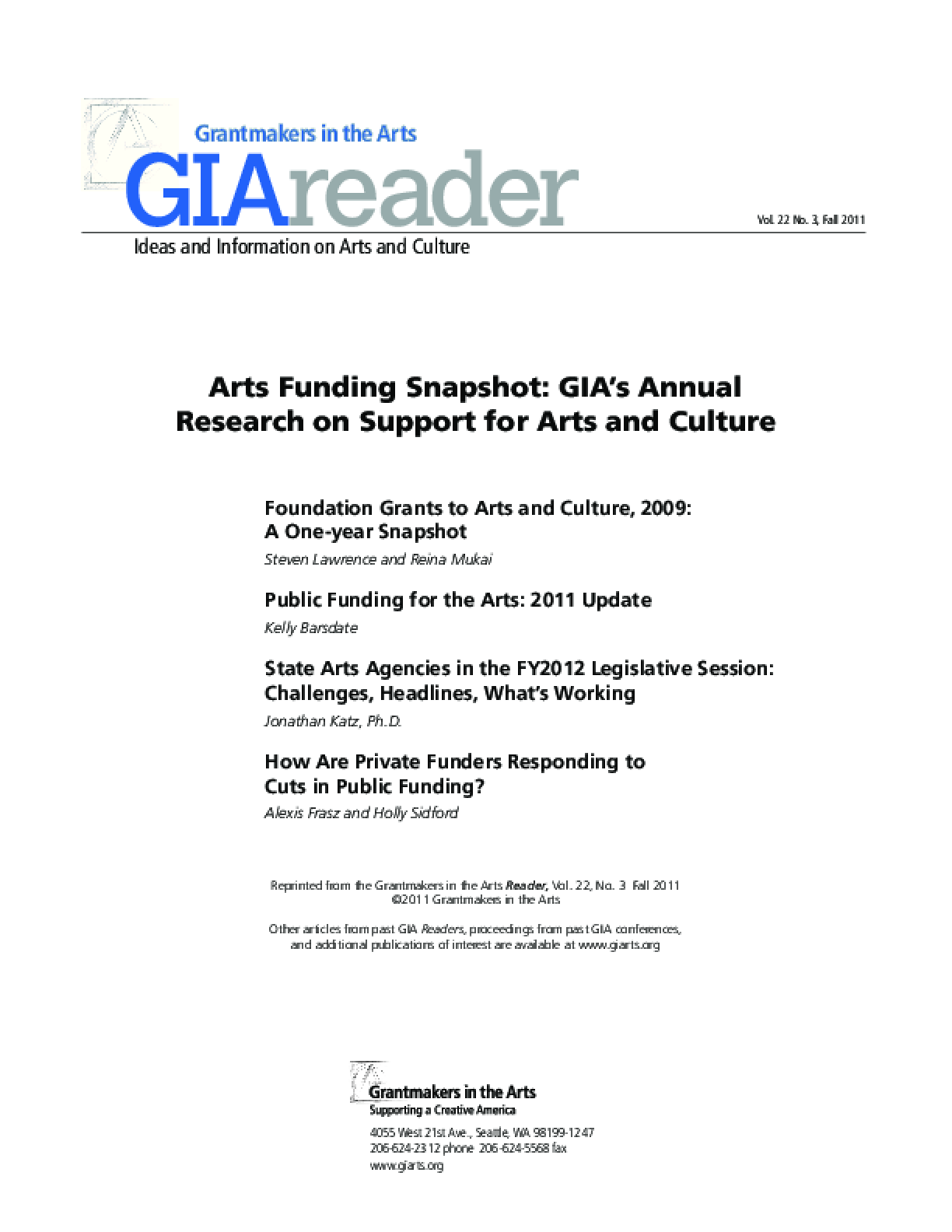 Arts Funding Snapshot: GIA's Annual Research on Support for Arts and Culture, 2011