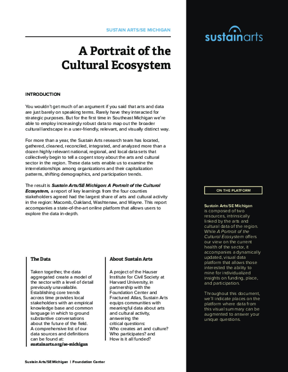 Sustain Arts/SE Michigan: A Portrait of the Cultural Ecosystem - Key Findings