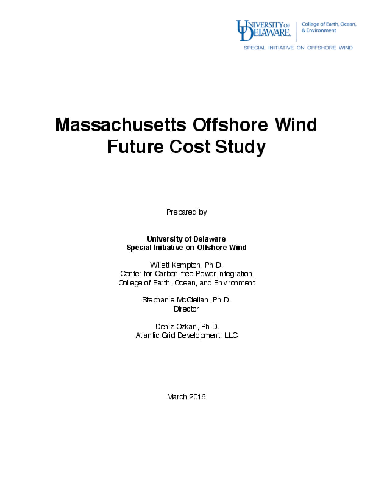 Massachusetts Offshore Wind Future Cost Study