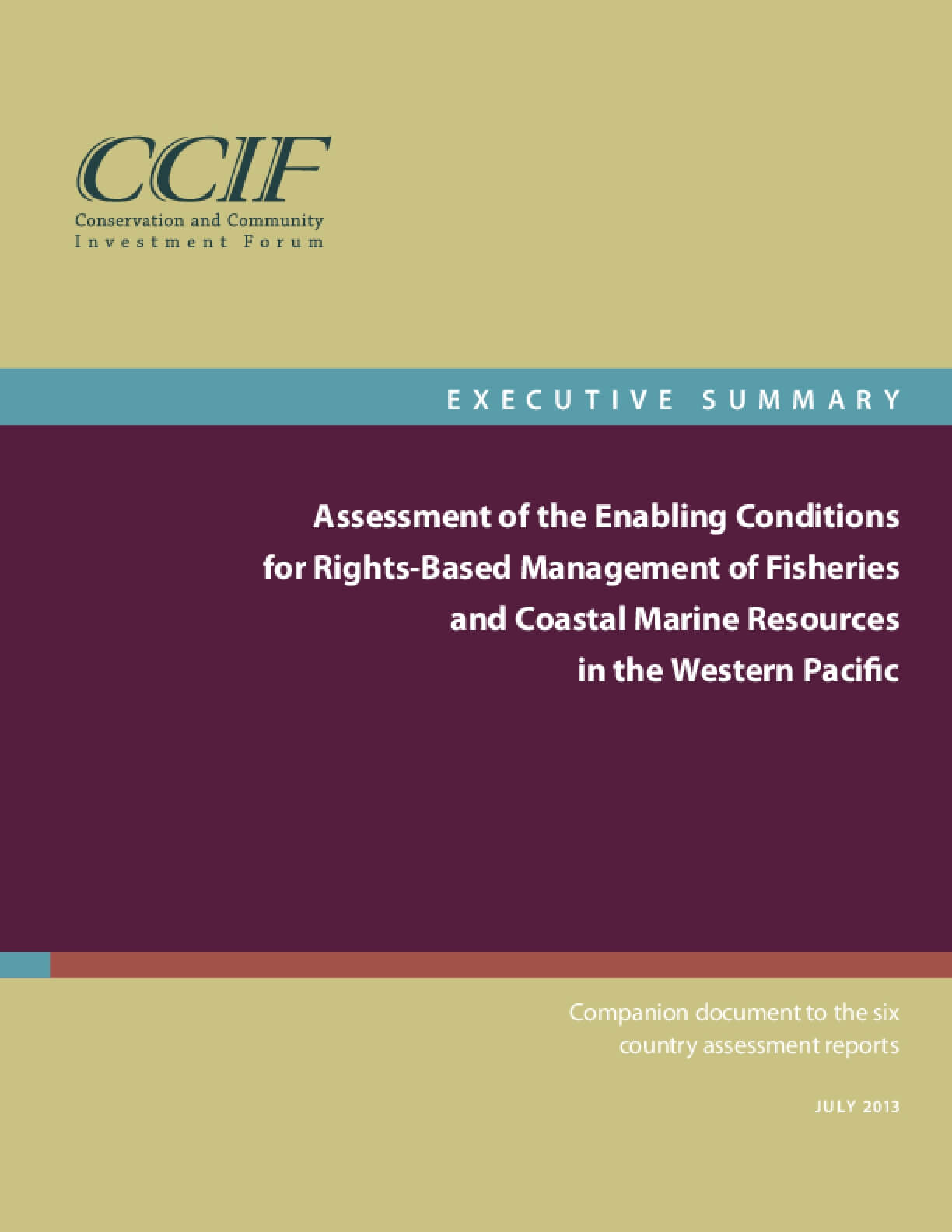 Assessment of Enabling Conditions for Rights-Based Management of Fisheries and Coastal Marine Resources (Executive Summary)