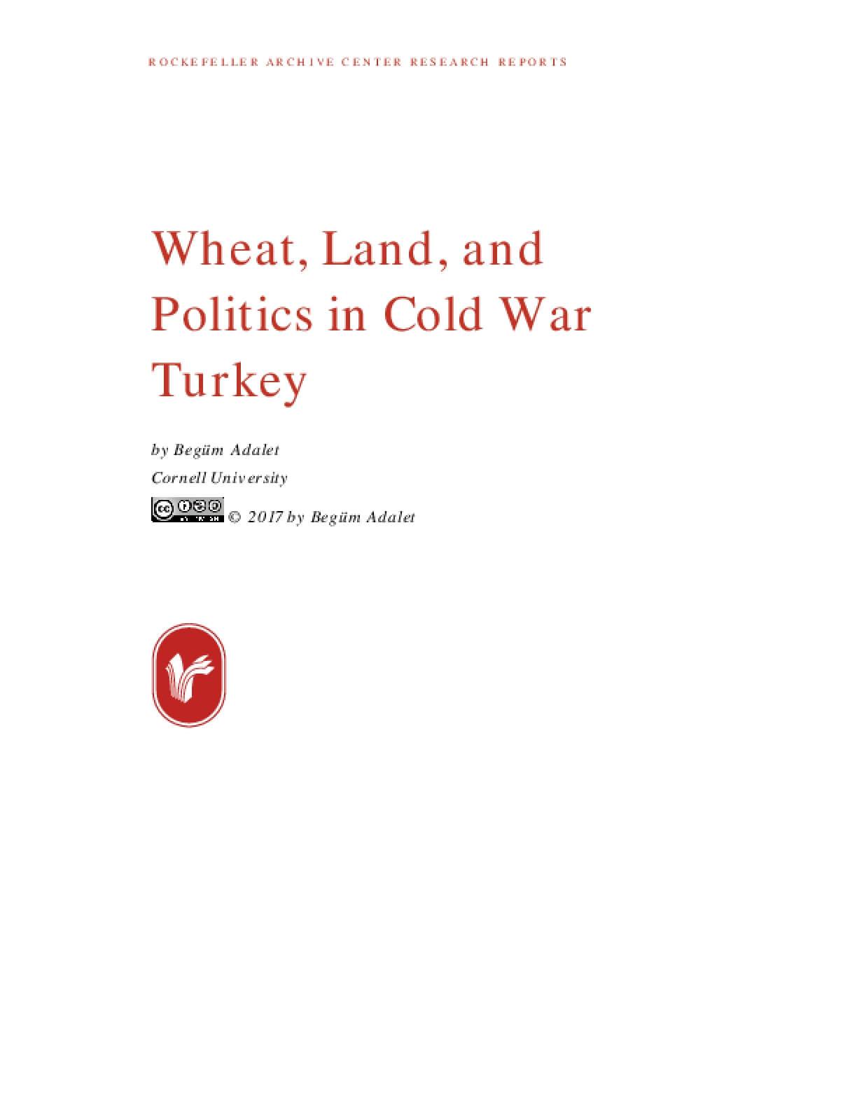 Wheat, Land, and Politics in Cold War Turkey