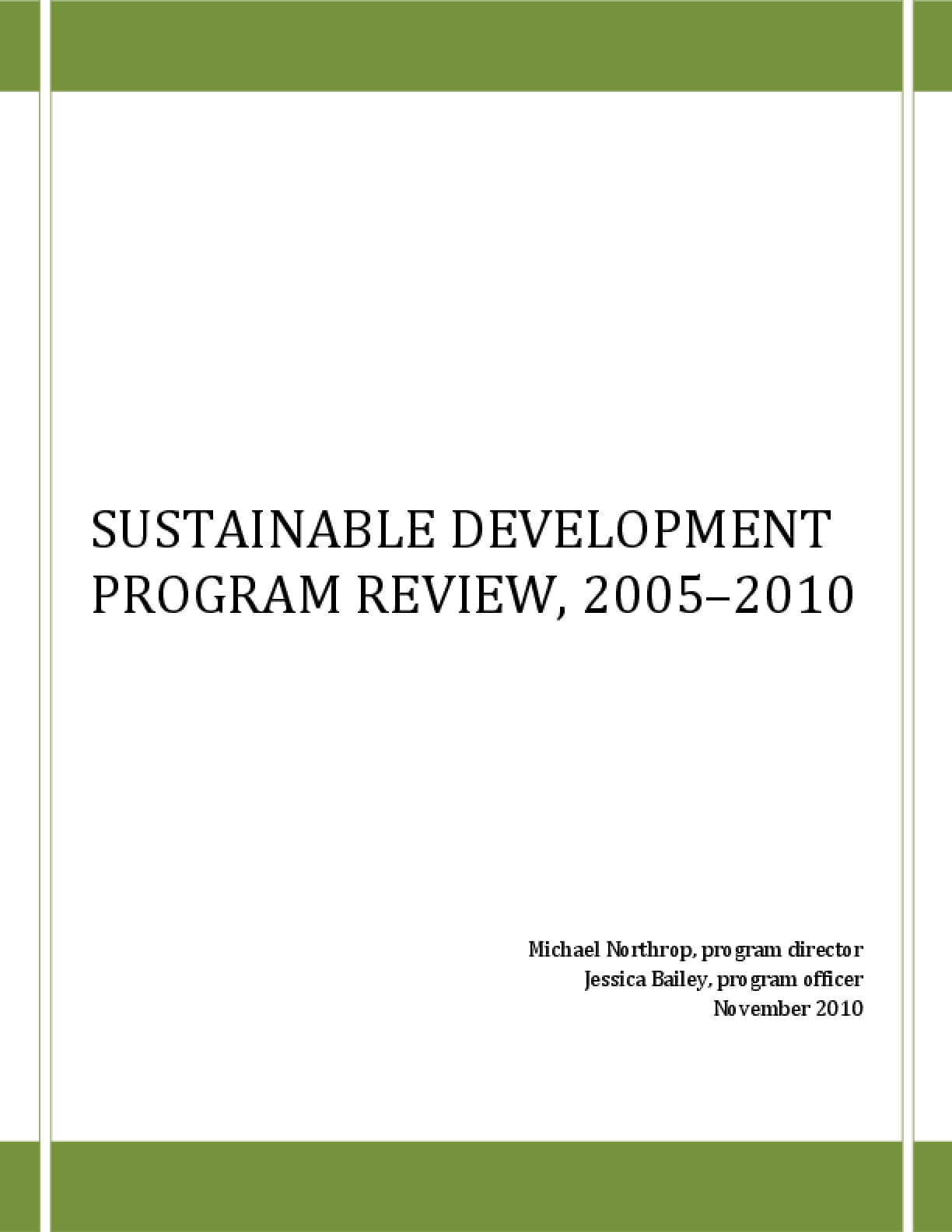 Sustainable Development Program Review, 2005–2010