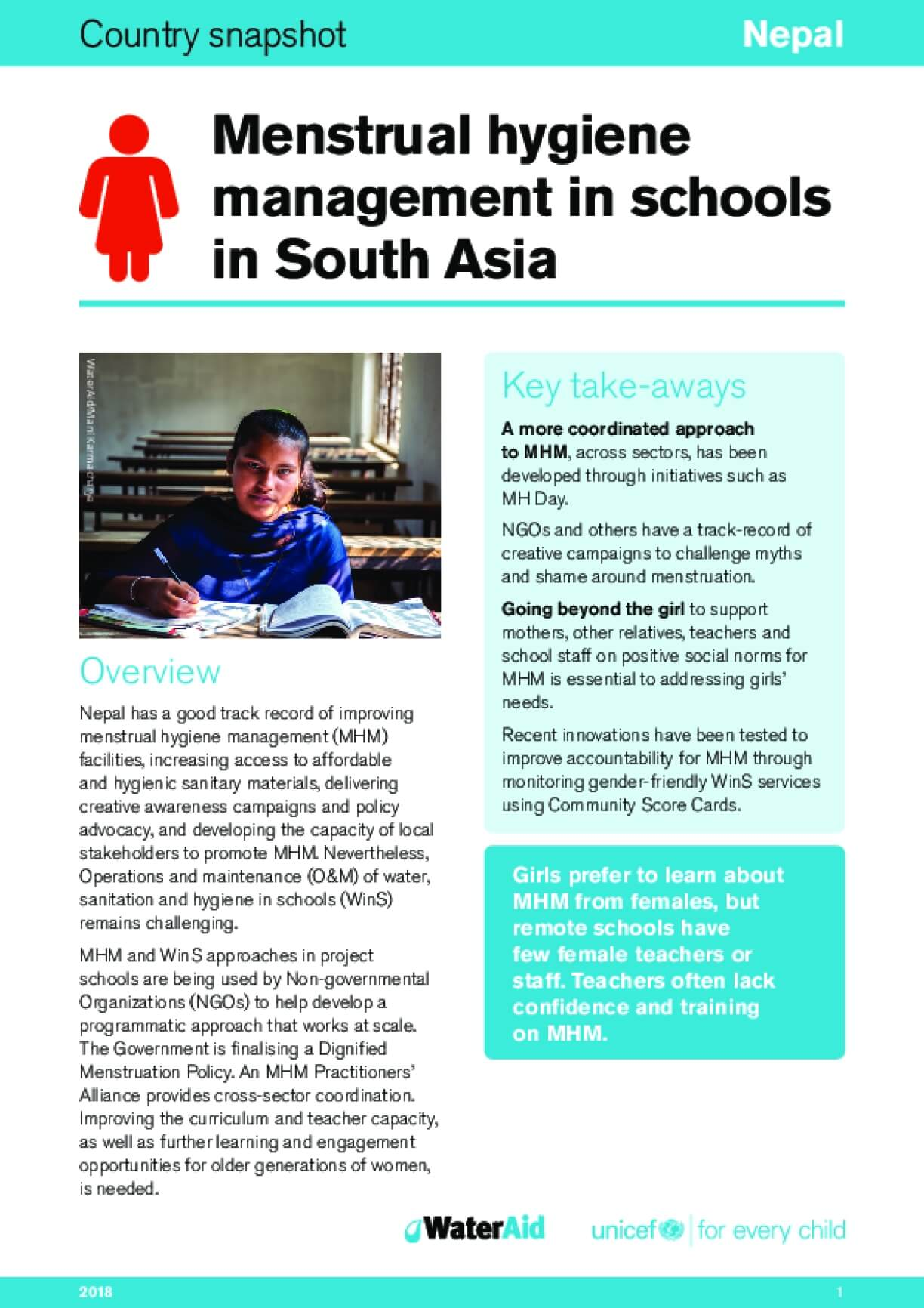 Menstrual hygiene management in schools in South Asia: Nepal
