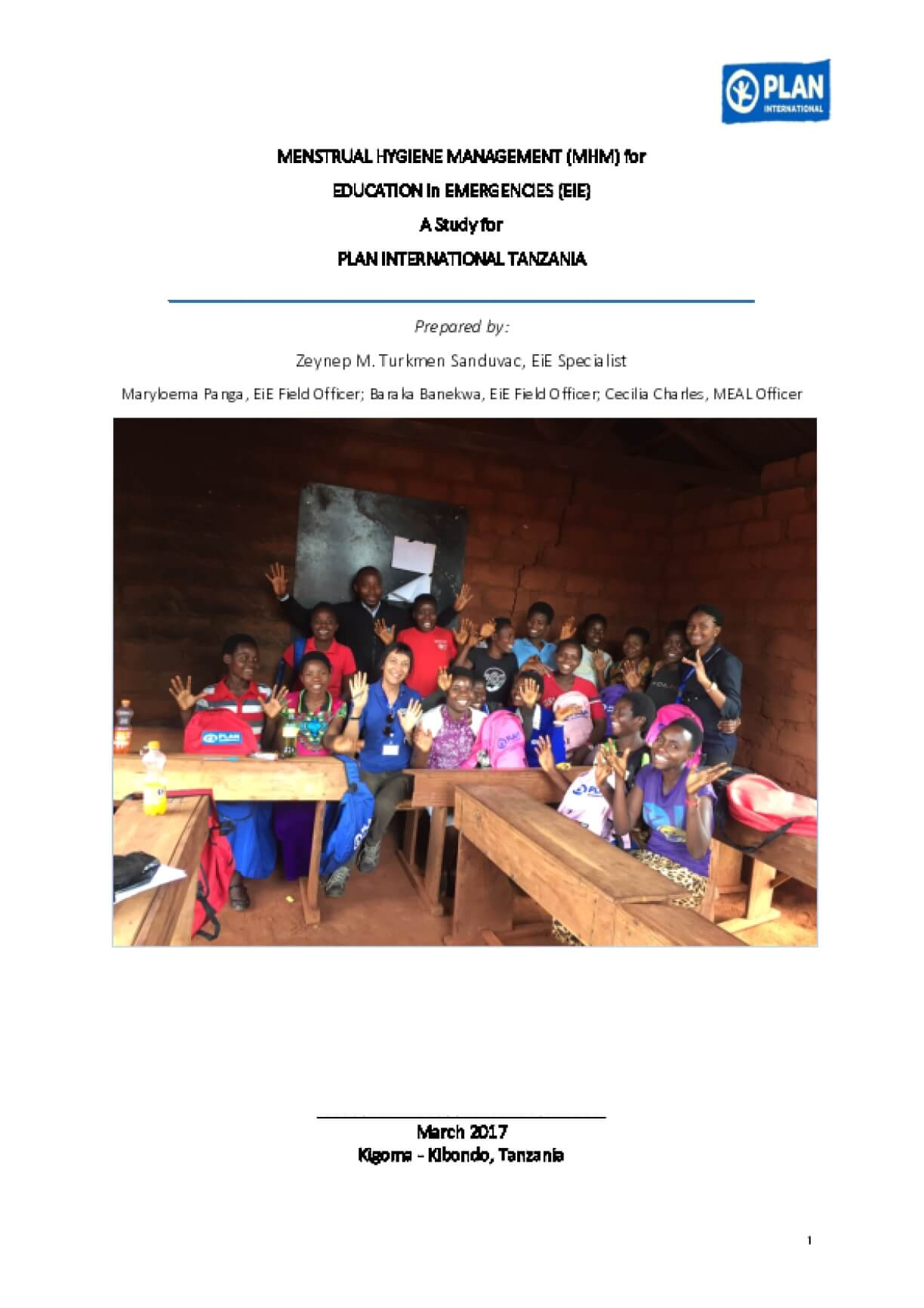 Menstrual Hygiene Management (MHM) for Education in Emergencies (EiE): A Study for Plan Intentional Tanzania