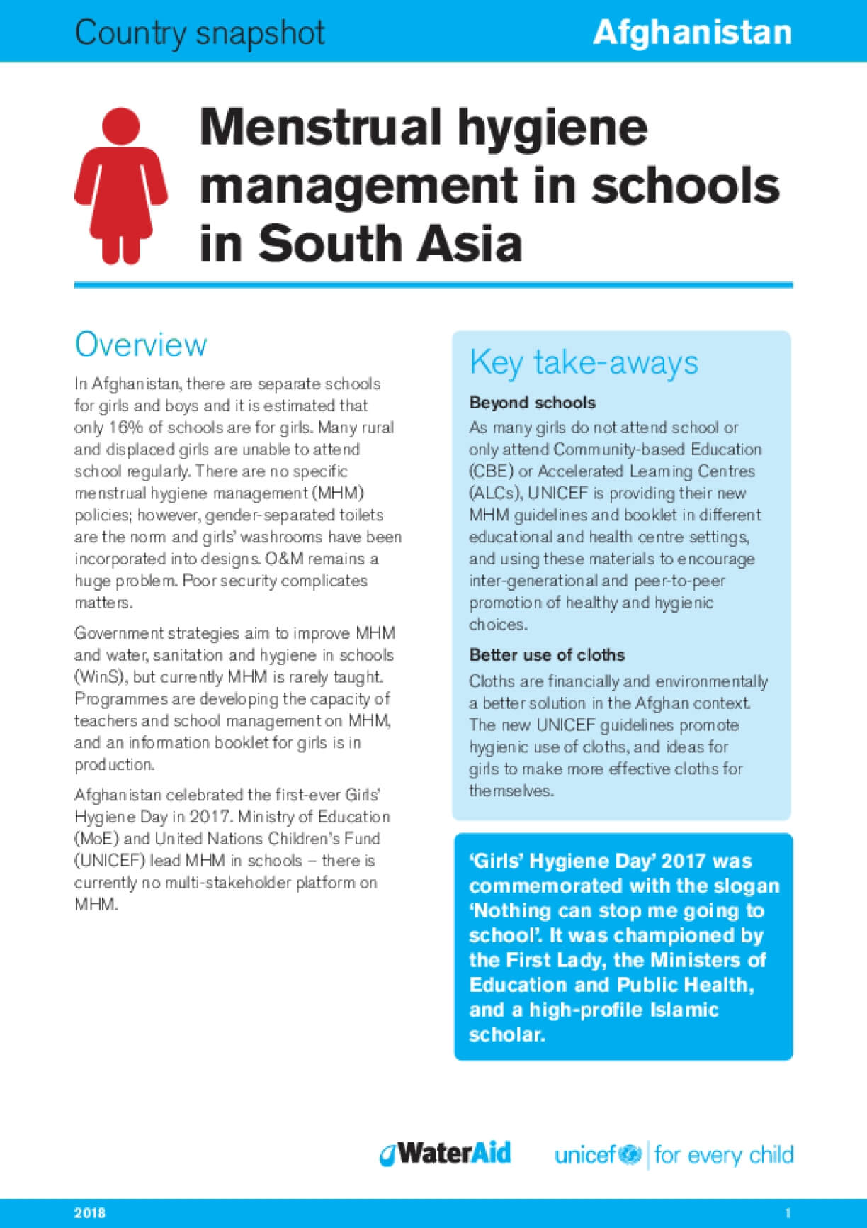 Menstrual hygiene management in schools in South Asia: Afghanistan