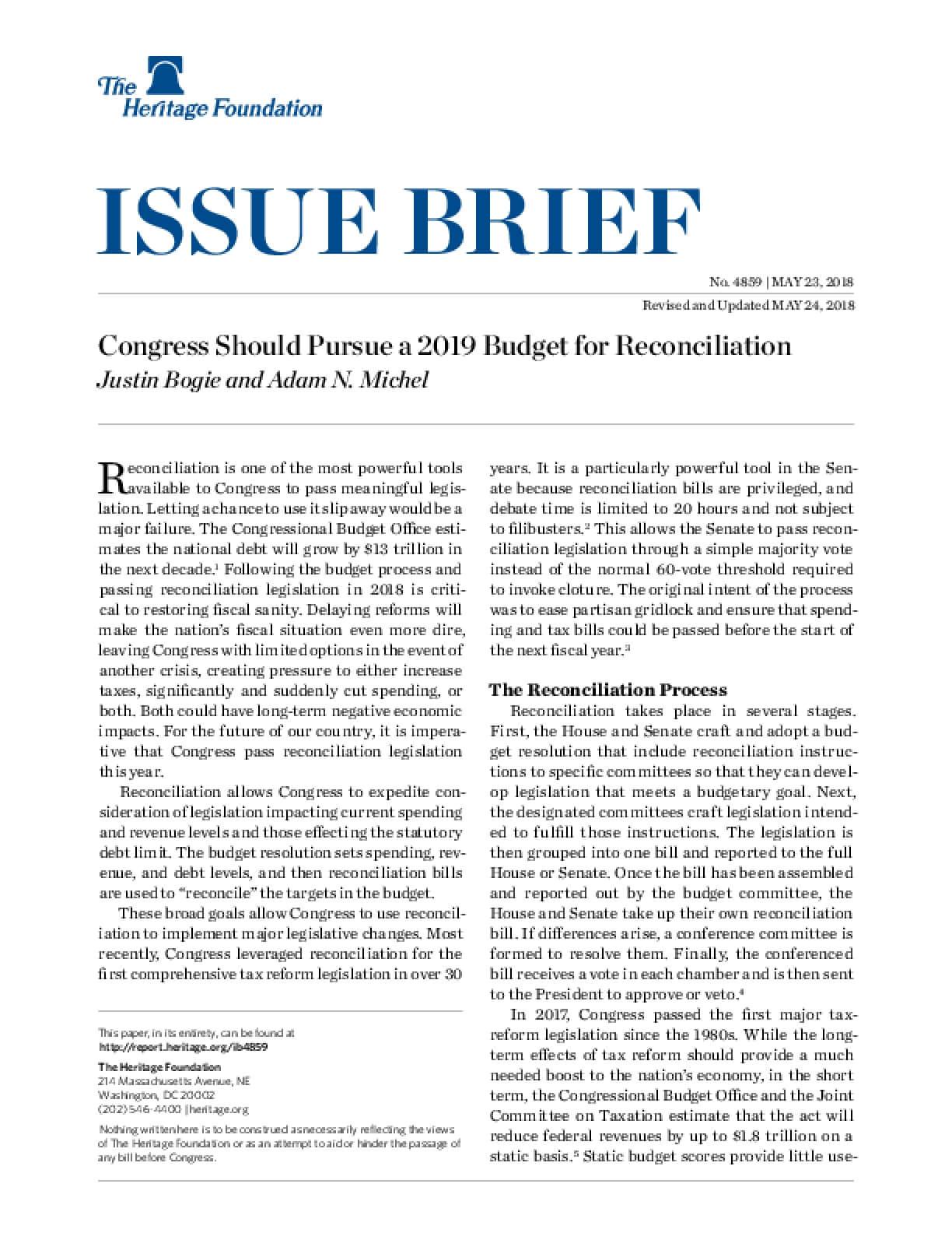 Congress Should Pursue a 2019 Budget for Reconciliation
