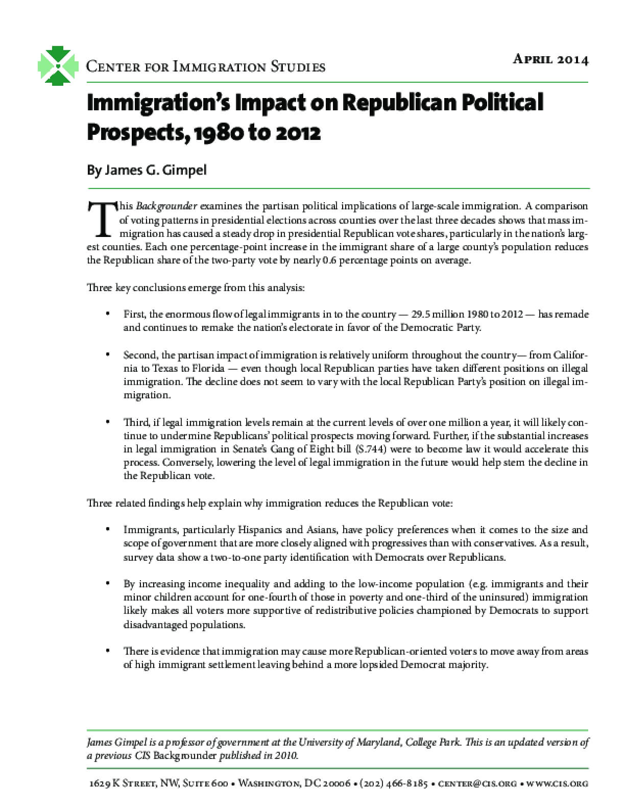 Immigration's Impact on Republican Political Prospects, 1980 to 2012
