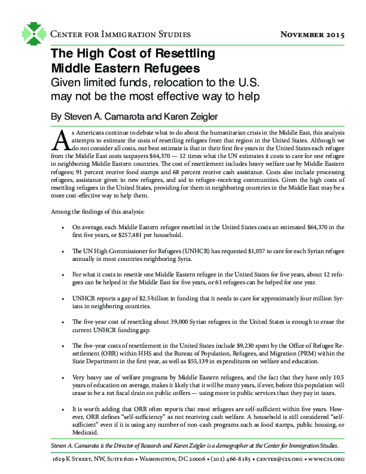 The High Cost of Resettling Middle Eastern Refugees