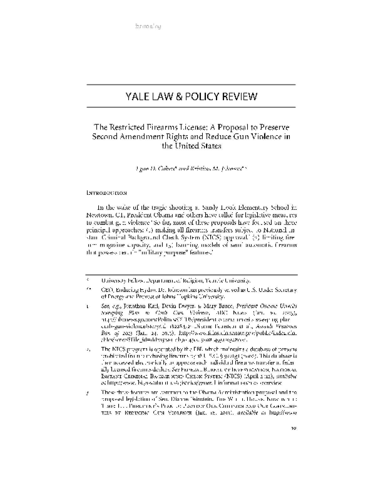 The Restricted Firearms License: A Proposal to Preserve Second Amendment Rights and Reduce Gun Violence in the United States