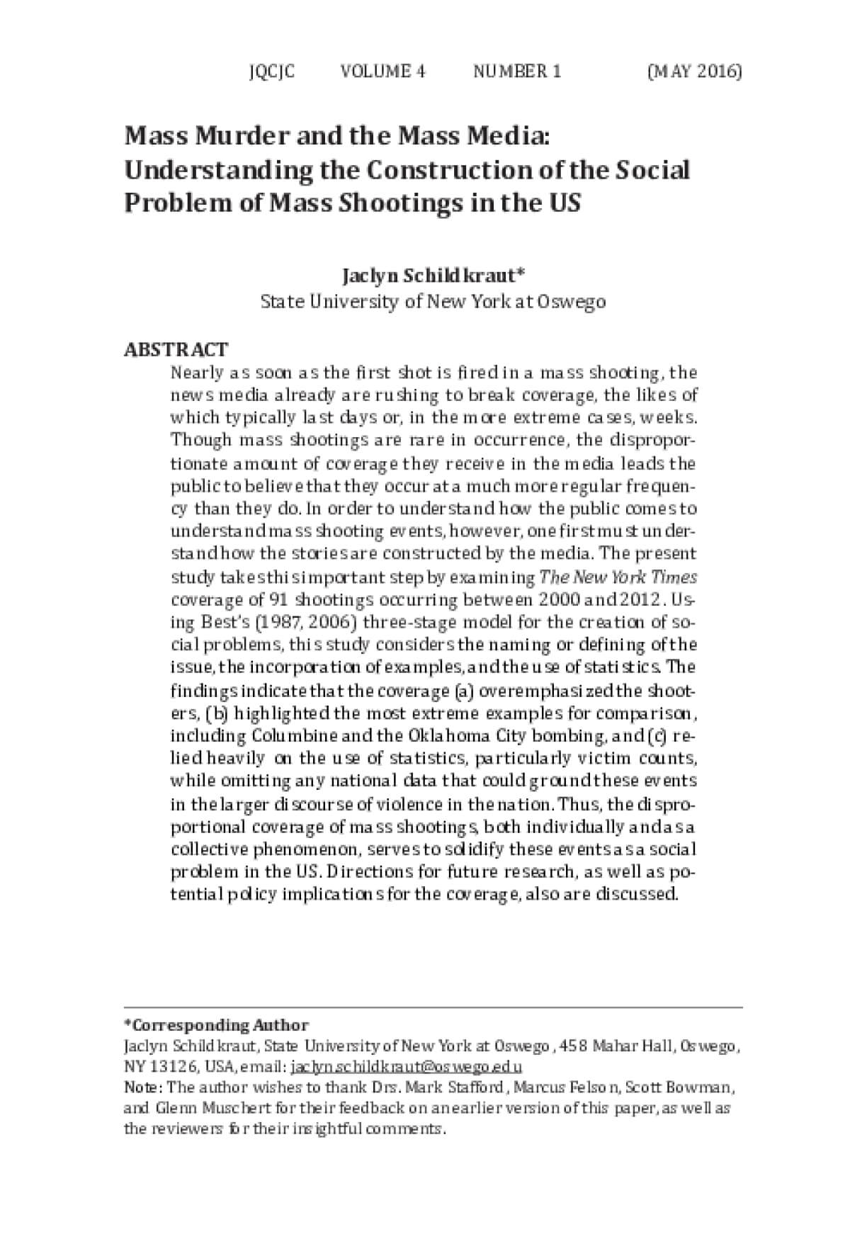 Mass Murder and the Mass Media: Understanding the Construction of the Social Problem of Mass Shootings in the US