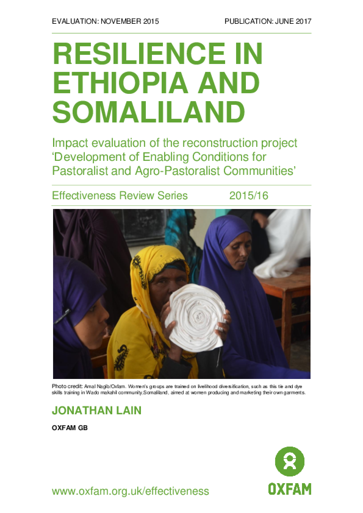 Resilience in Ethiopia and Somaliland: Impact evaluation of the reconstruction project 'Development of Enabling Conditions for Pastoralist and Agro-Pastoralist Communities'