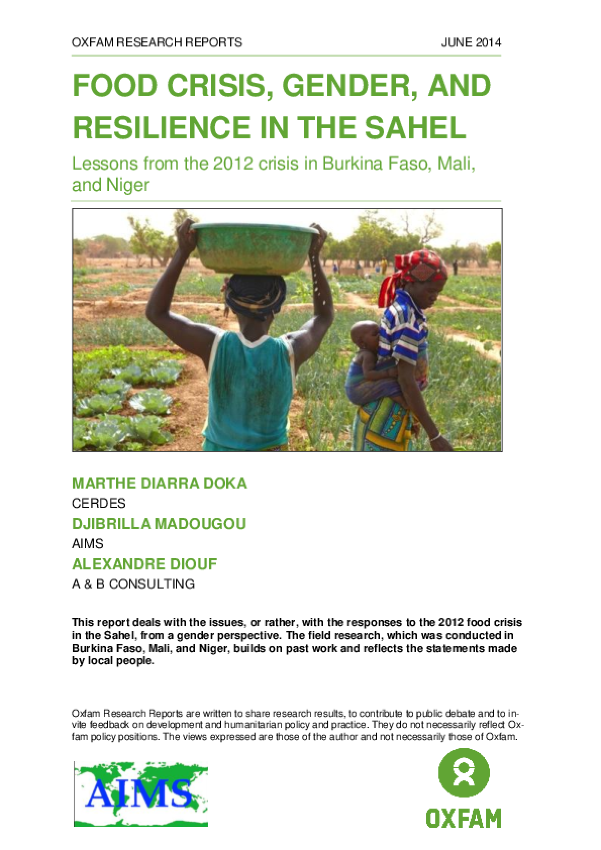 Food Crisis, Gender, and Resilience in the Sahel: Lessons from the 2012 crisis in Burkina Faso, Mali, and Niger