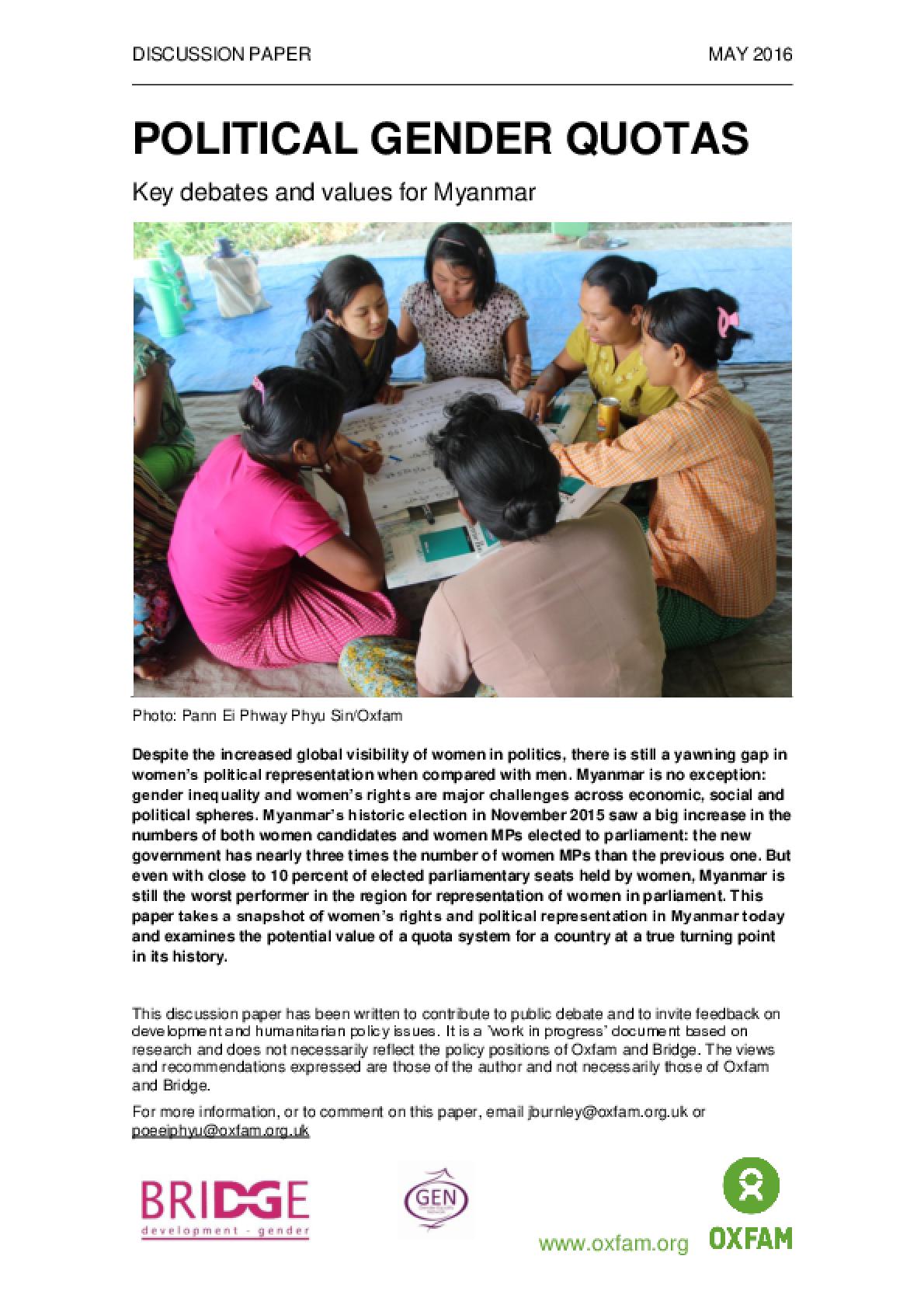 Political Gender Quotas: Key debates and values for Myanmar