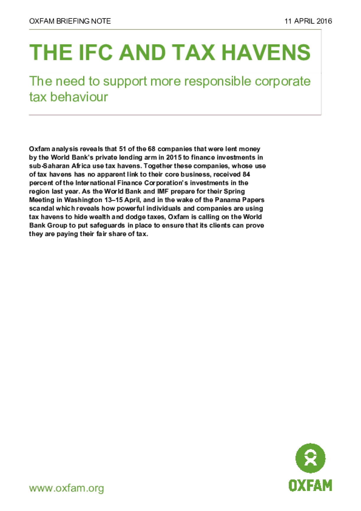 The IFC and Tax Havens: The need to support more responsible corporate tax behaviour