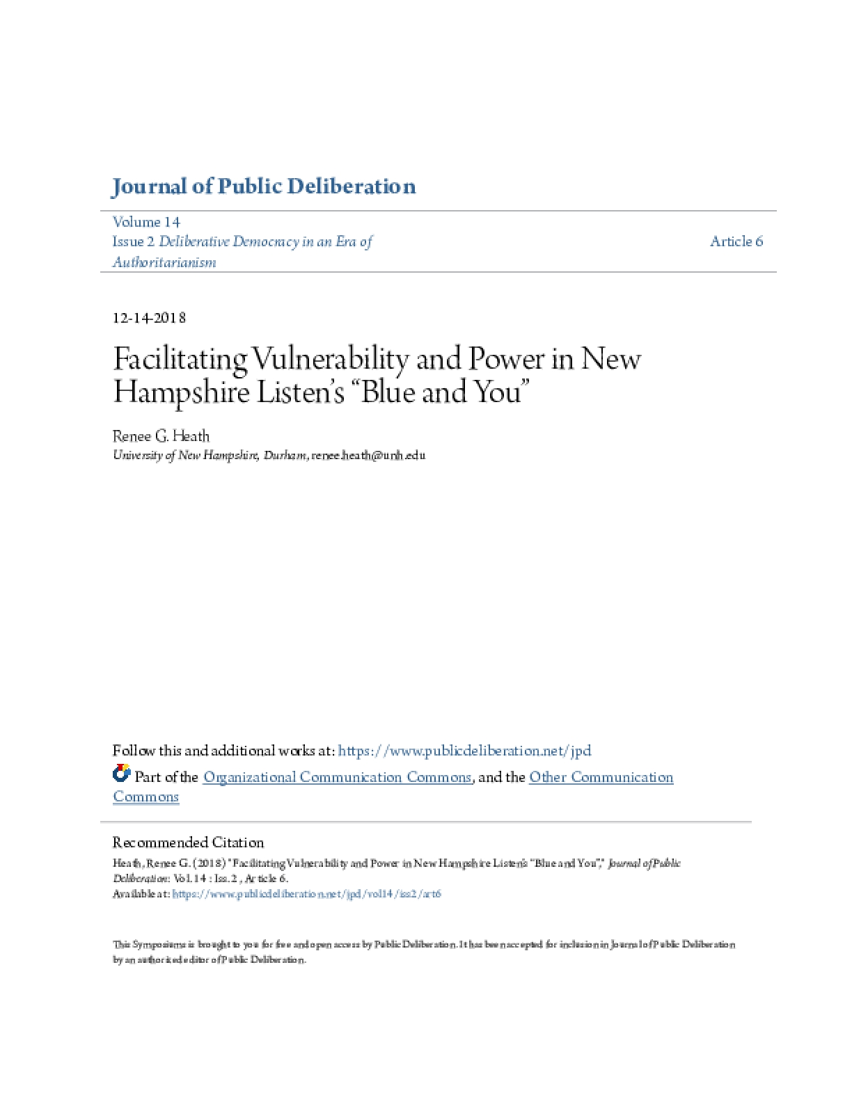 "Facilitating Vulnerability and Power in New Hampshire Listen's ""Blue and You """