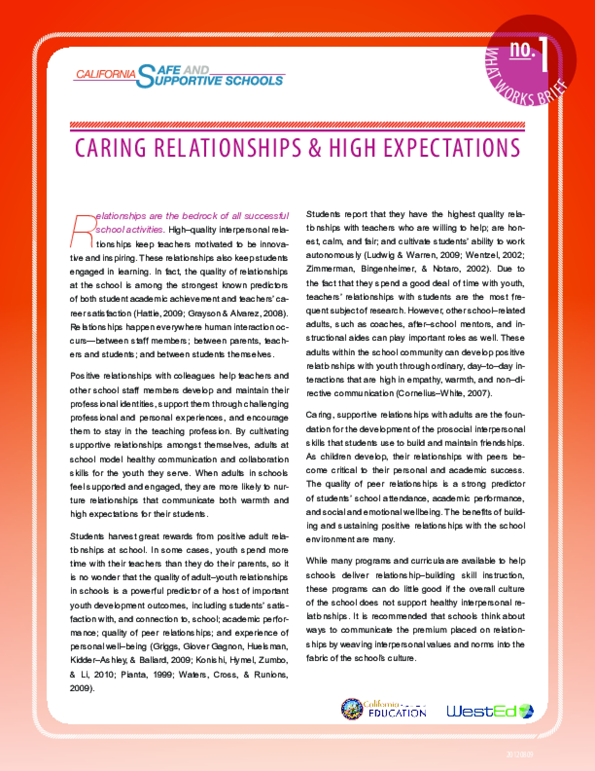 What Works Brief #1: Caring Relationships and High Expectations
