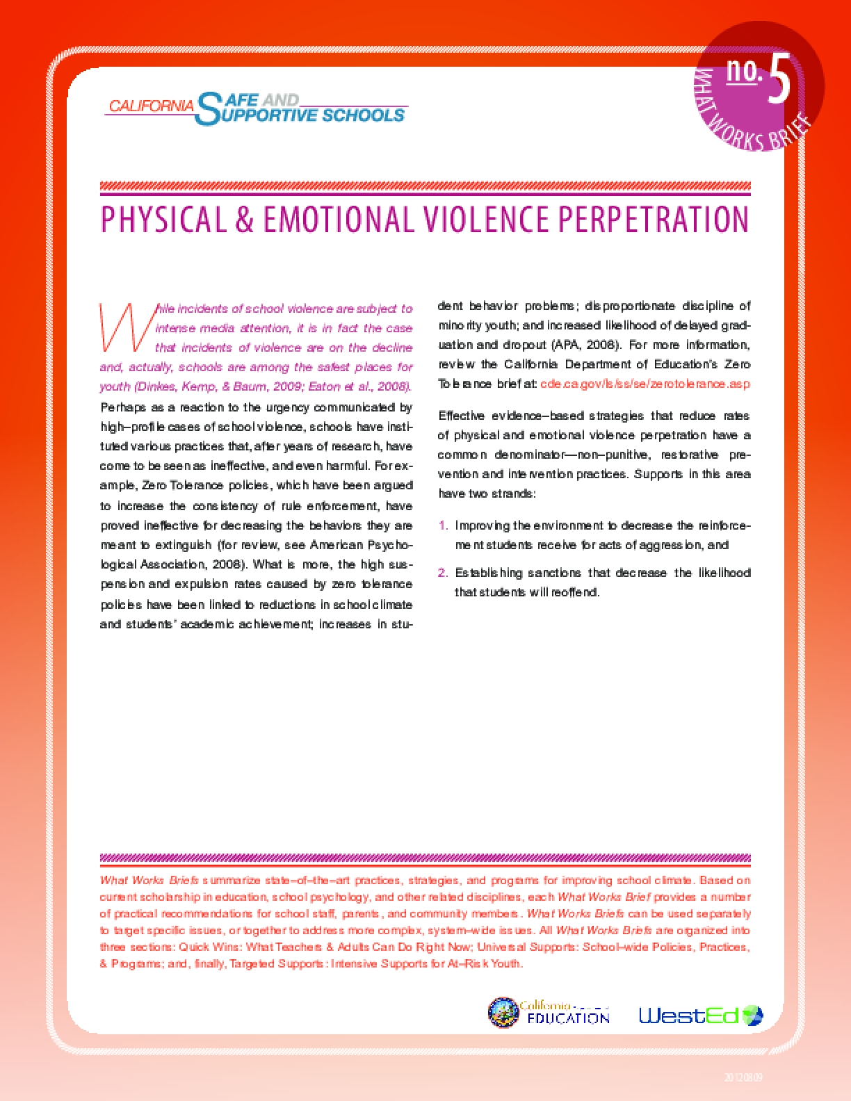 What Works Brief #5: Physical and Emotional Violence Perpetration